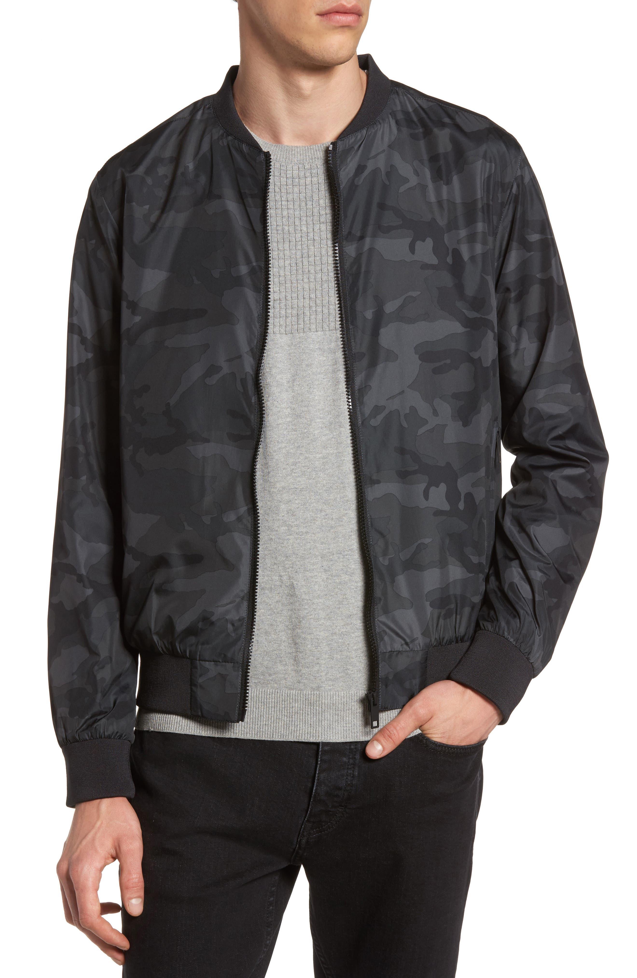 Camo Print Bomber Jacket,                         Main,                         color, Grey Multi