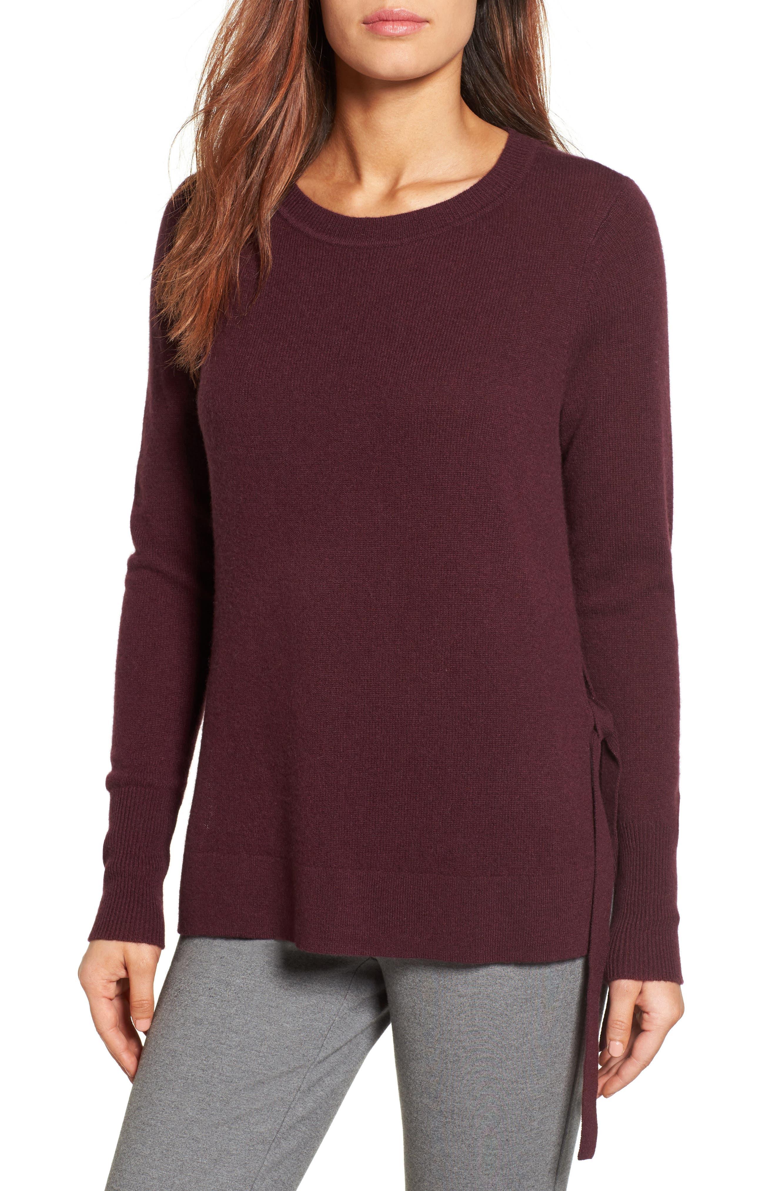 Main Image - Halogen® Side Tie Cashmere Sweater (Regular & Petite)