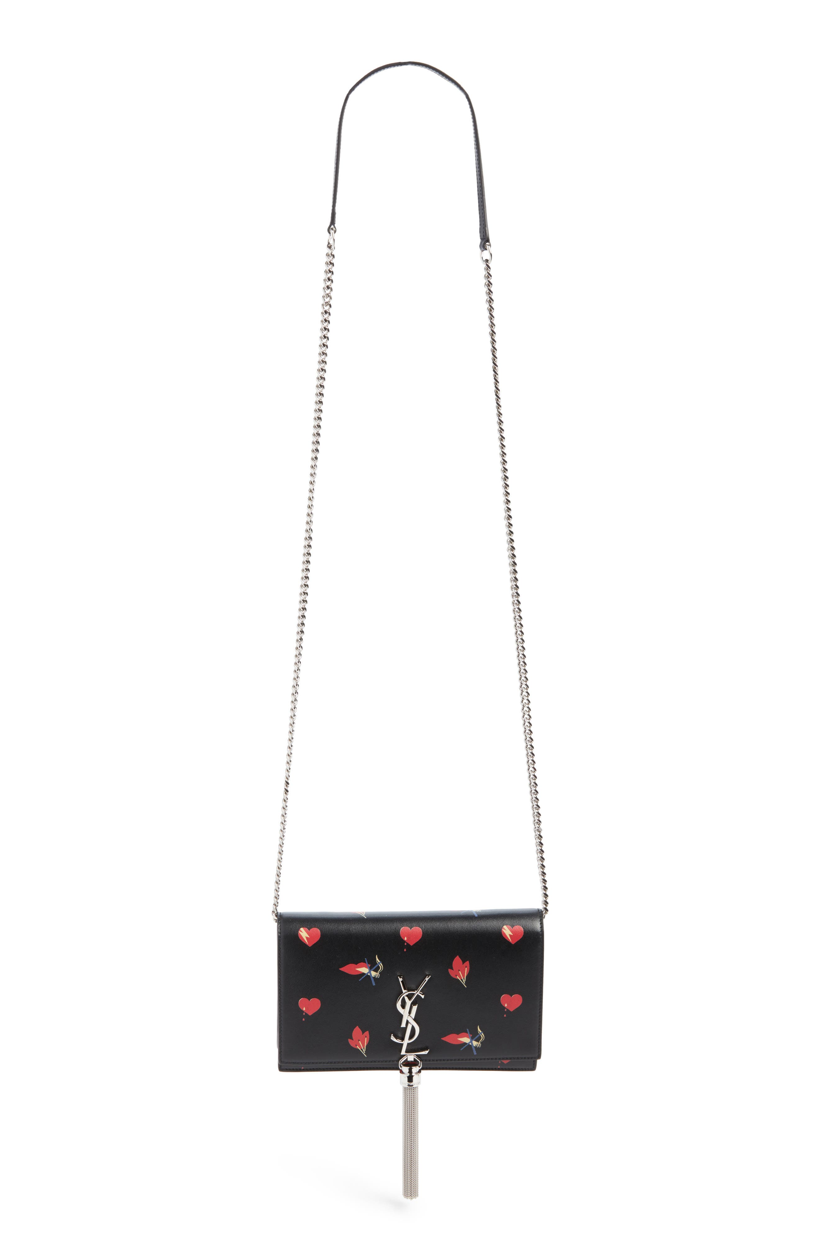 Mini Kate Leather Wallet on a Chain,                         Main,                         color, Nero/ Rosso/ Bianco