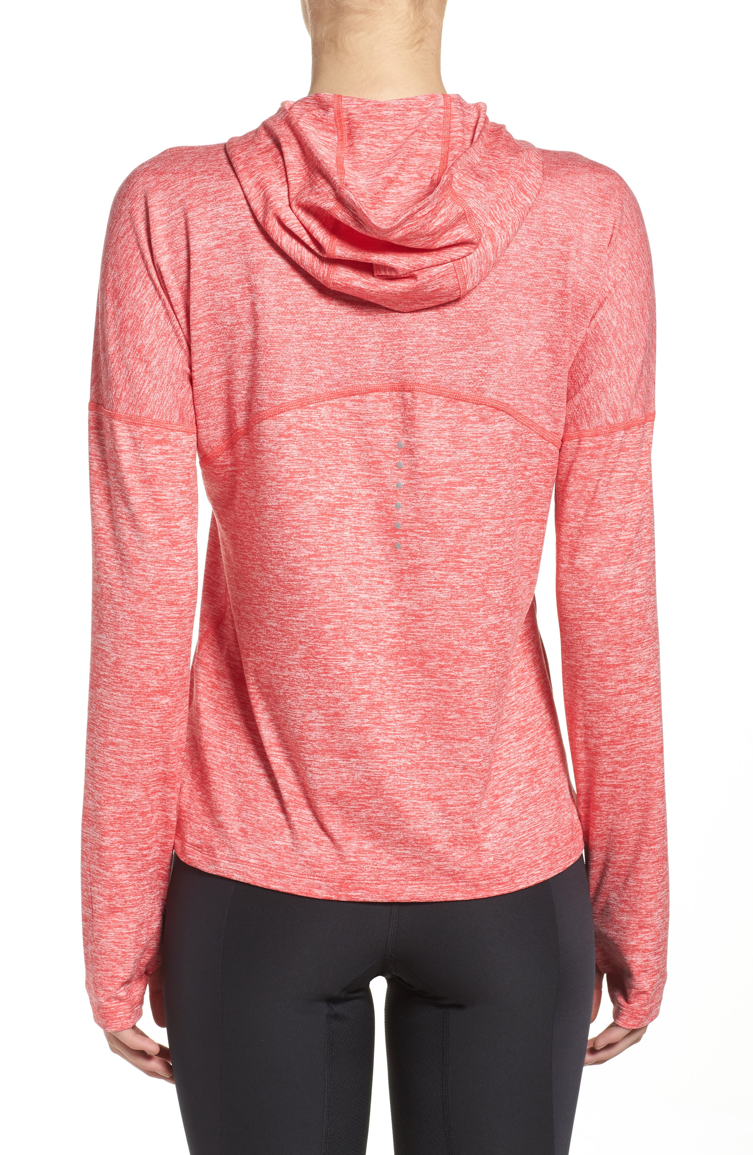 Dry Element Running Hoodie,                             Alternate thumbnail 2, color,                             Light Fusion Red/ Heather