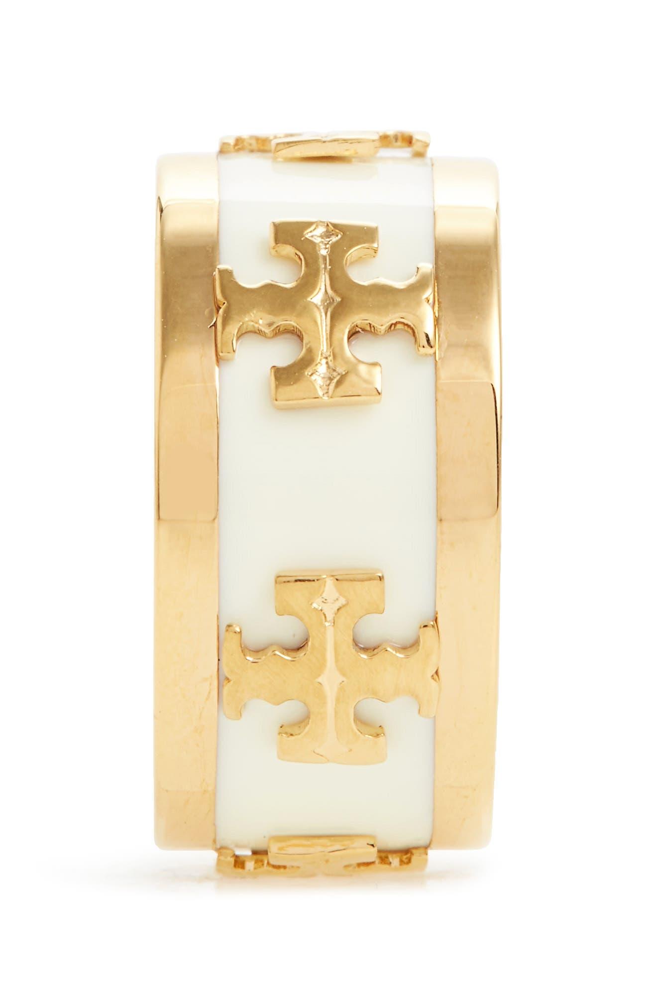 Enamel Logo Ring,                             Alternate thumbnail 2, color,                             New Ivory / Tory Gold