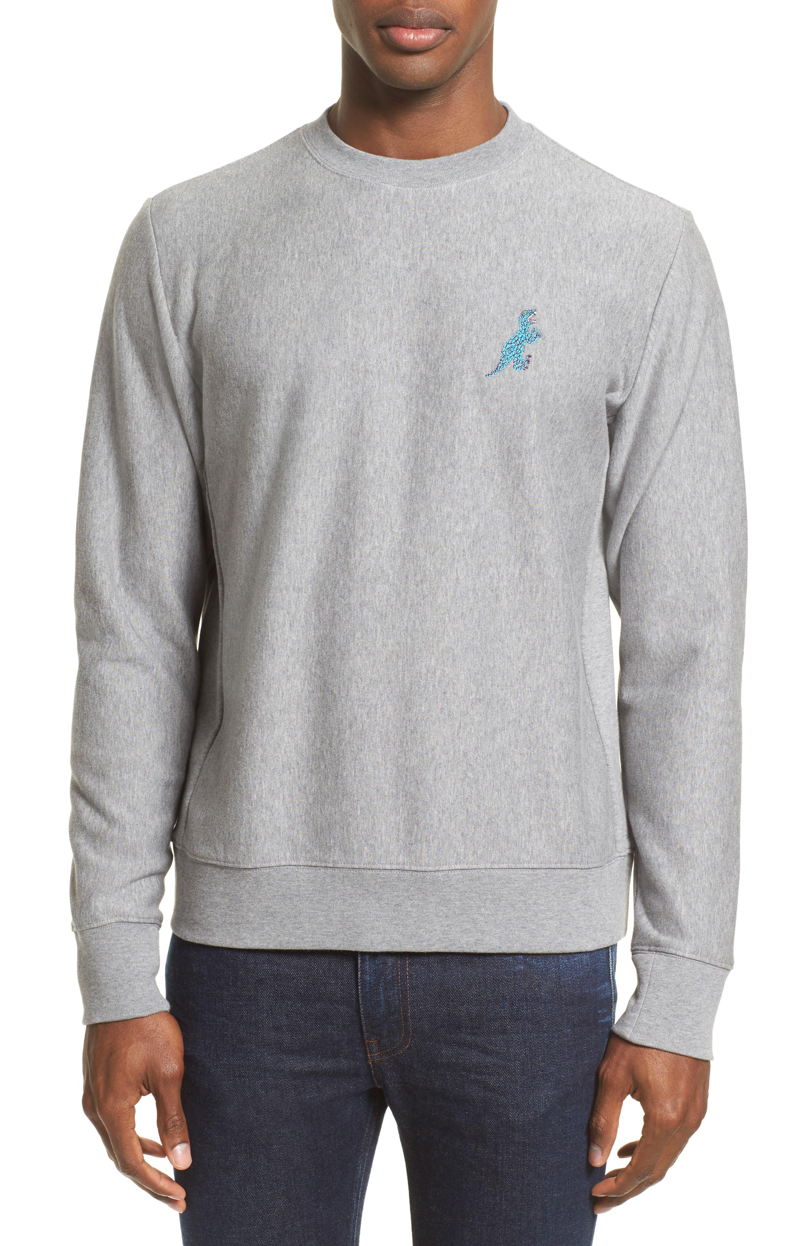 Dino Dino Embroidered Sweatshirt,                         Main,                         color, Grey