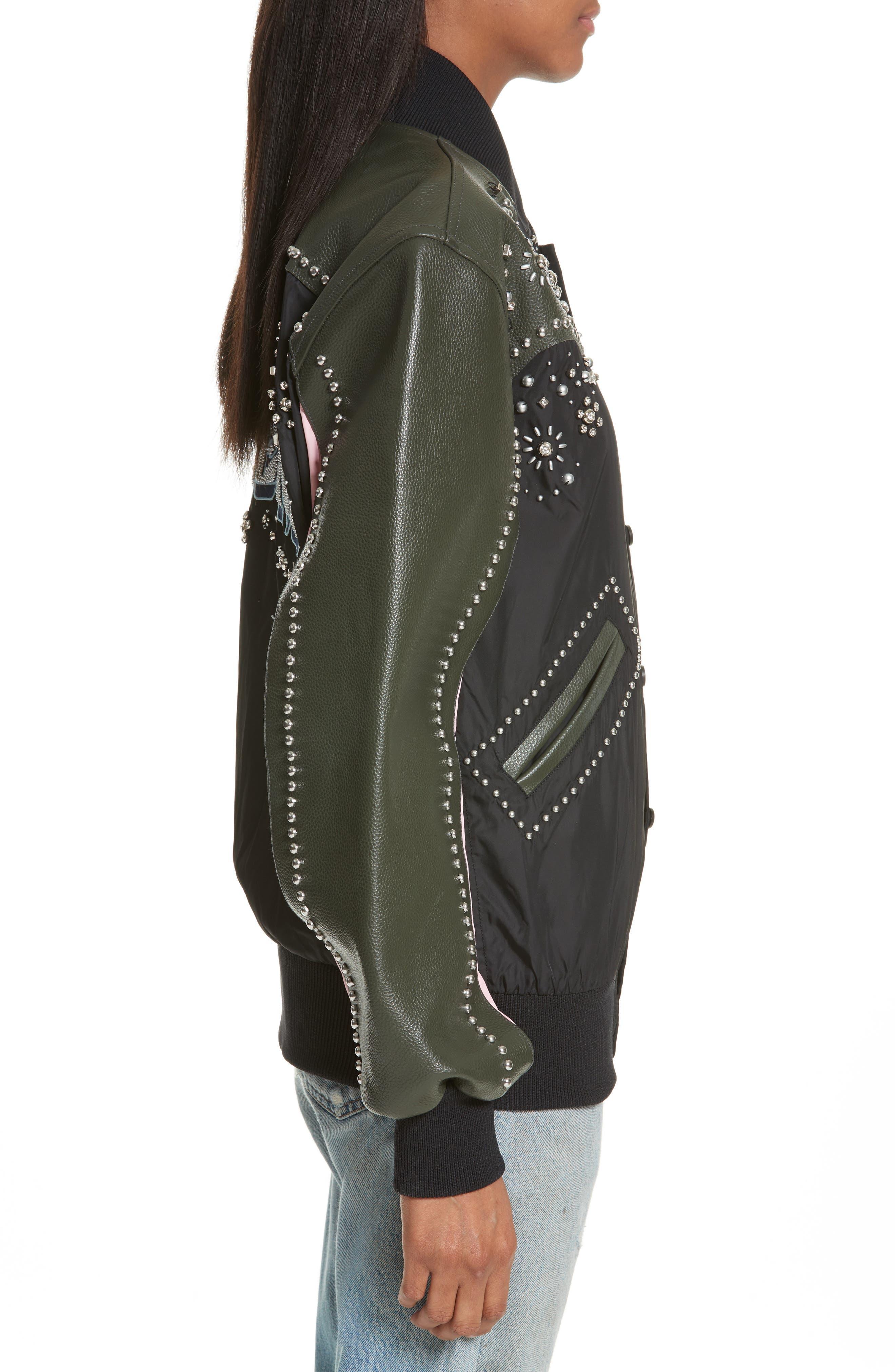 Studded Western Varsity Jacket,                             Alternate thumbnail 3, color,                             Black Multi