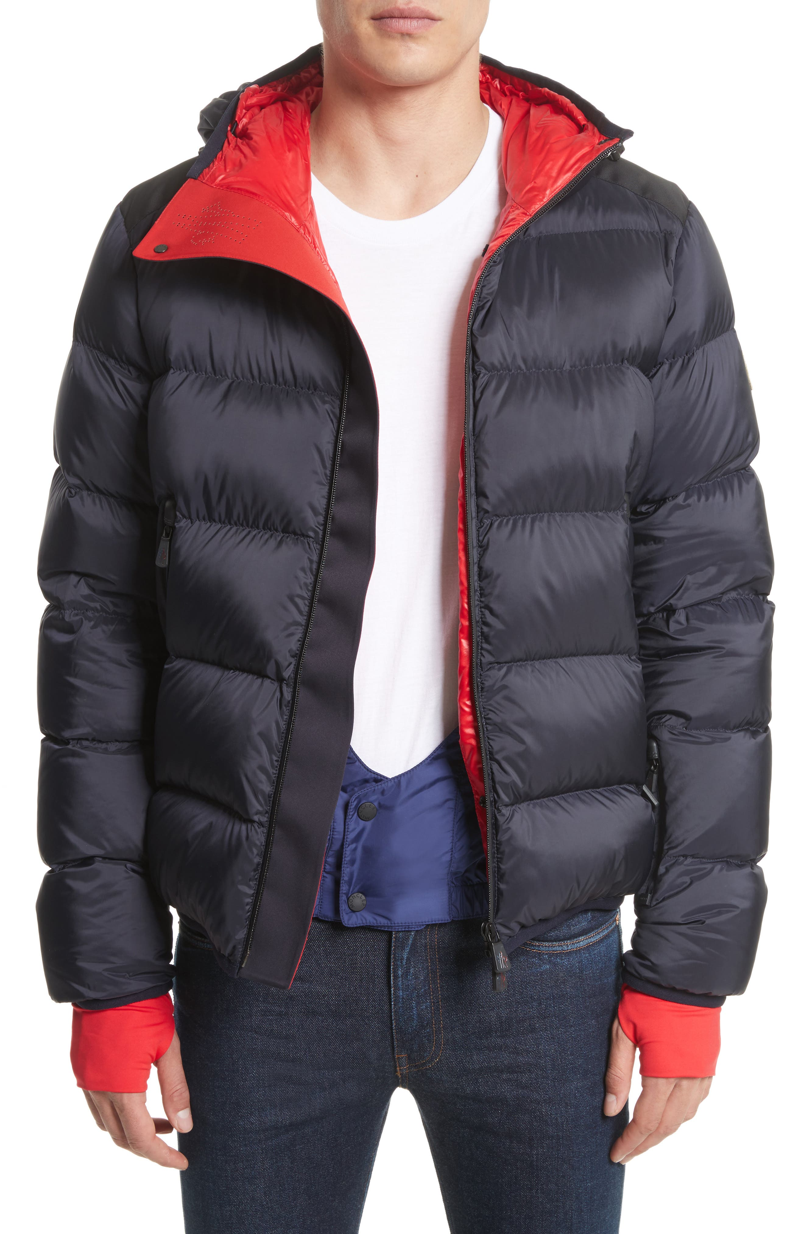 Grenoble Hintertux Hooded Down Jacket,                             Alternate thumbnail 4, color,                             Navy/ Red
