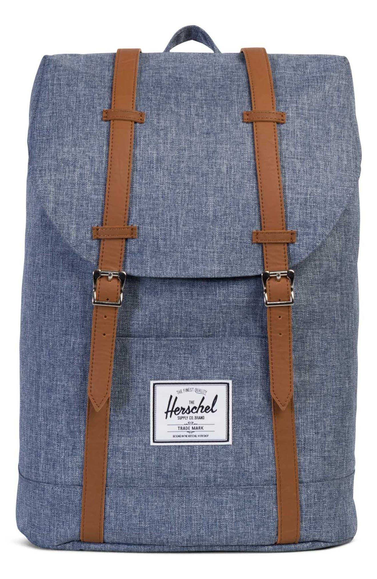 'Retreat' Backpack,                         Main,                         color, Dark Chambray Cross Hatch