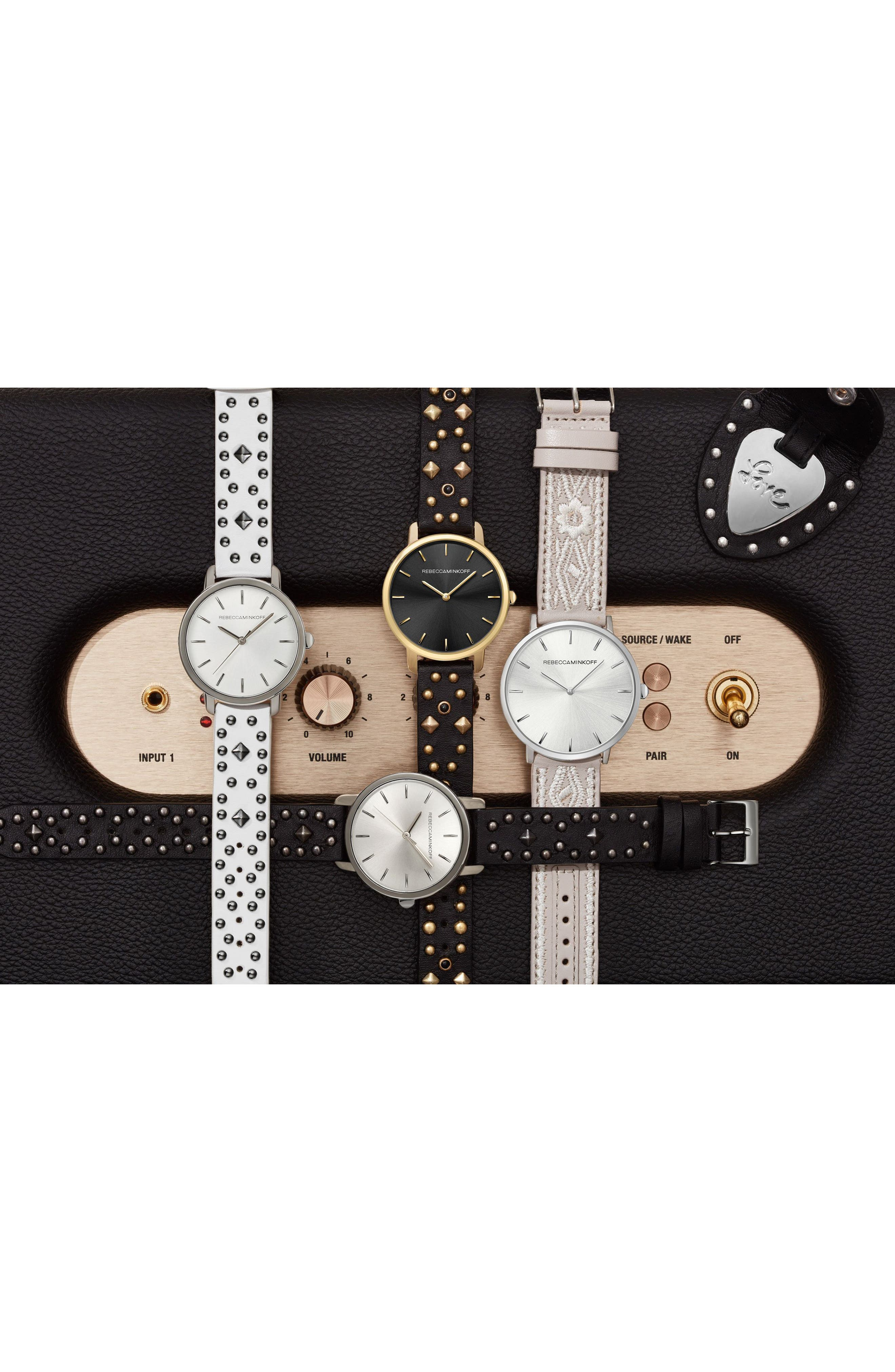 BFFL Studded Leather Strap Watch, 36mm,                             Alternate thumbnail 4, color,                             Black/ Gold
