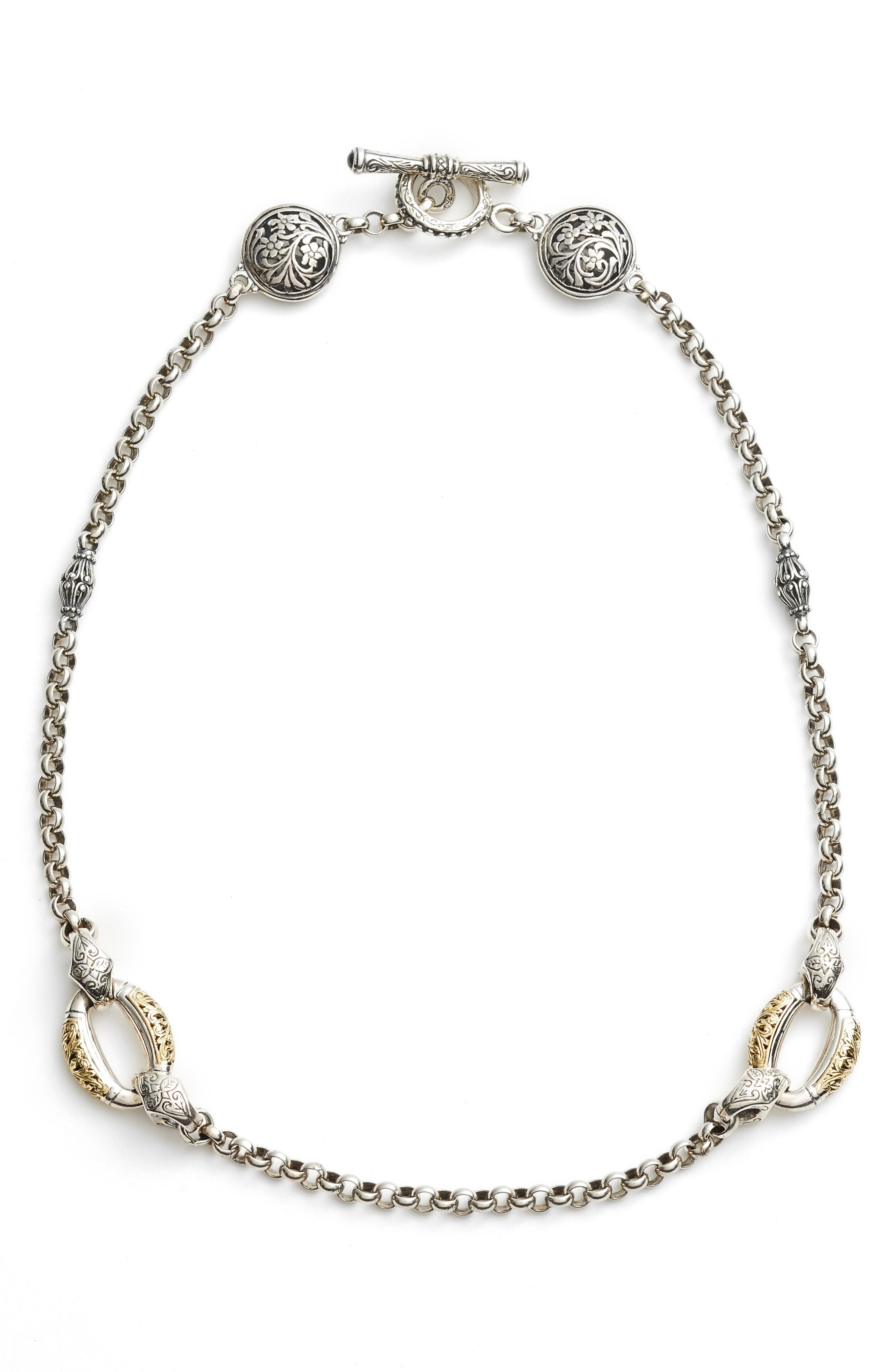 Classics Daphne Link Necklace,                         Main,                         color, Silver/ Gold