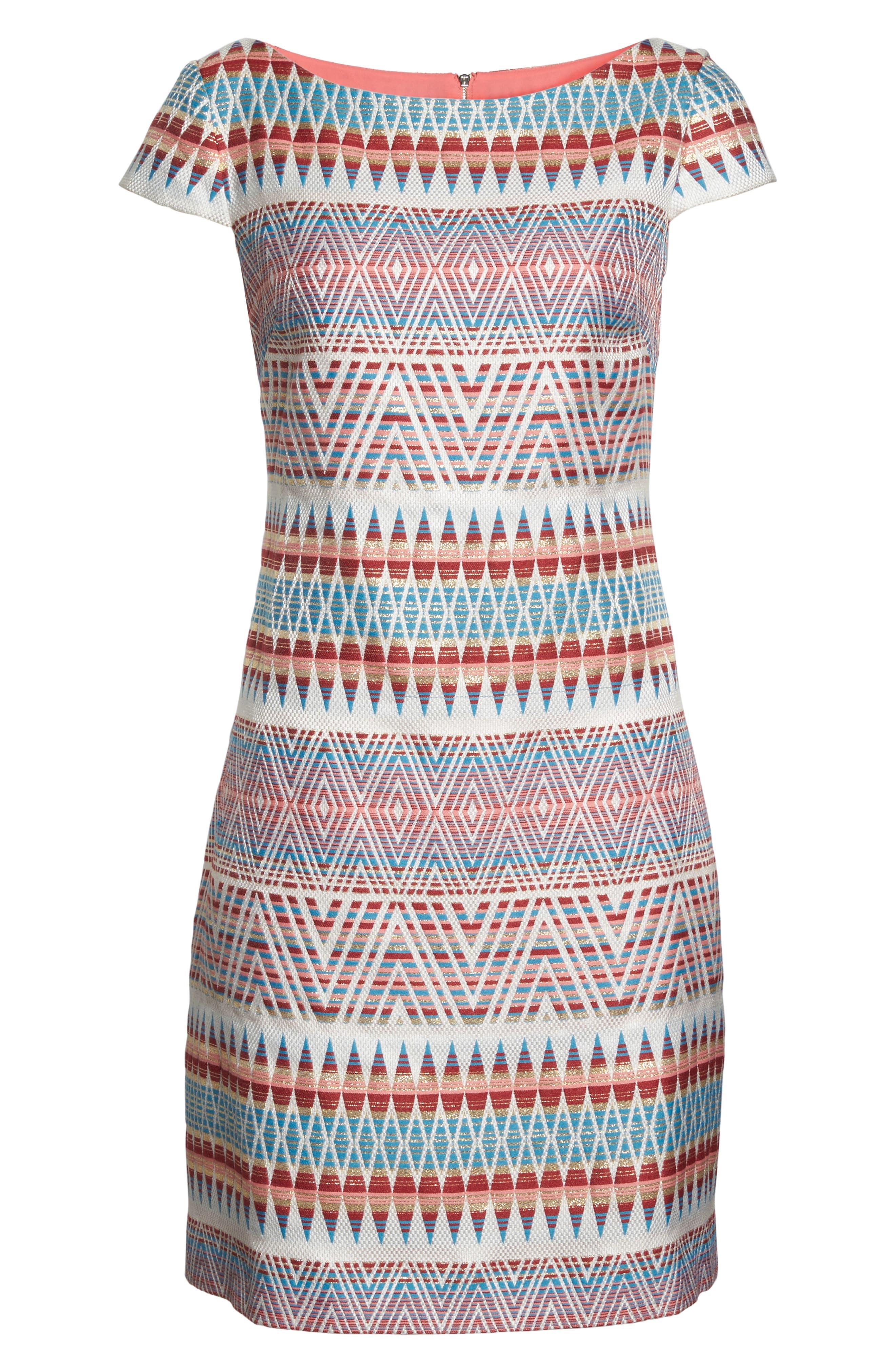 Jacquard Sheath Dress,                             Alternate thumbnail 6, color,                             Coral Multi