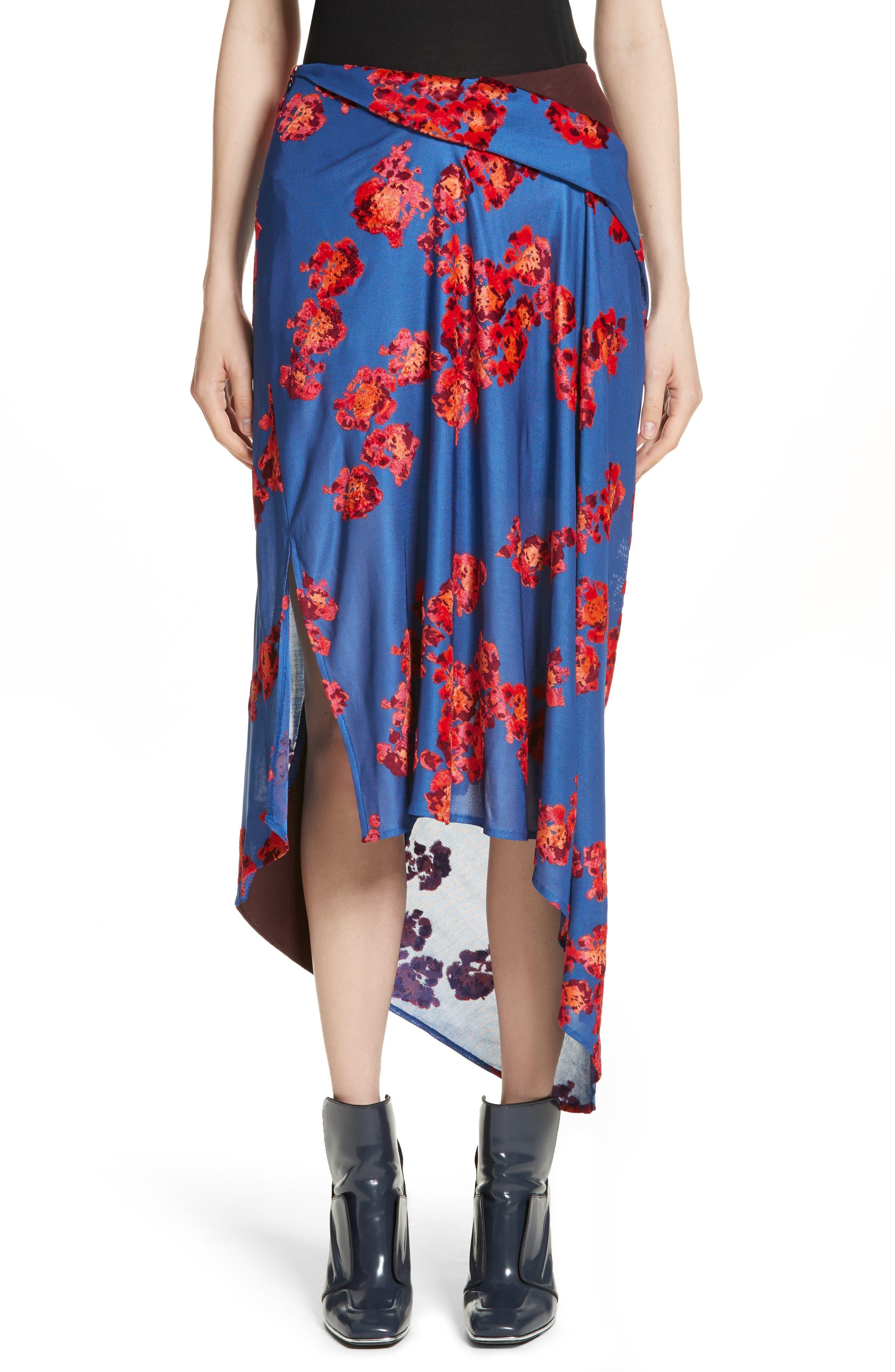 Jacquard Jersey Asymmetrical Skirt,                         Main,                         color, Bordeaux/ Ciel