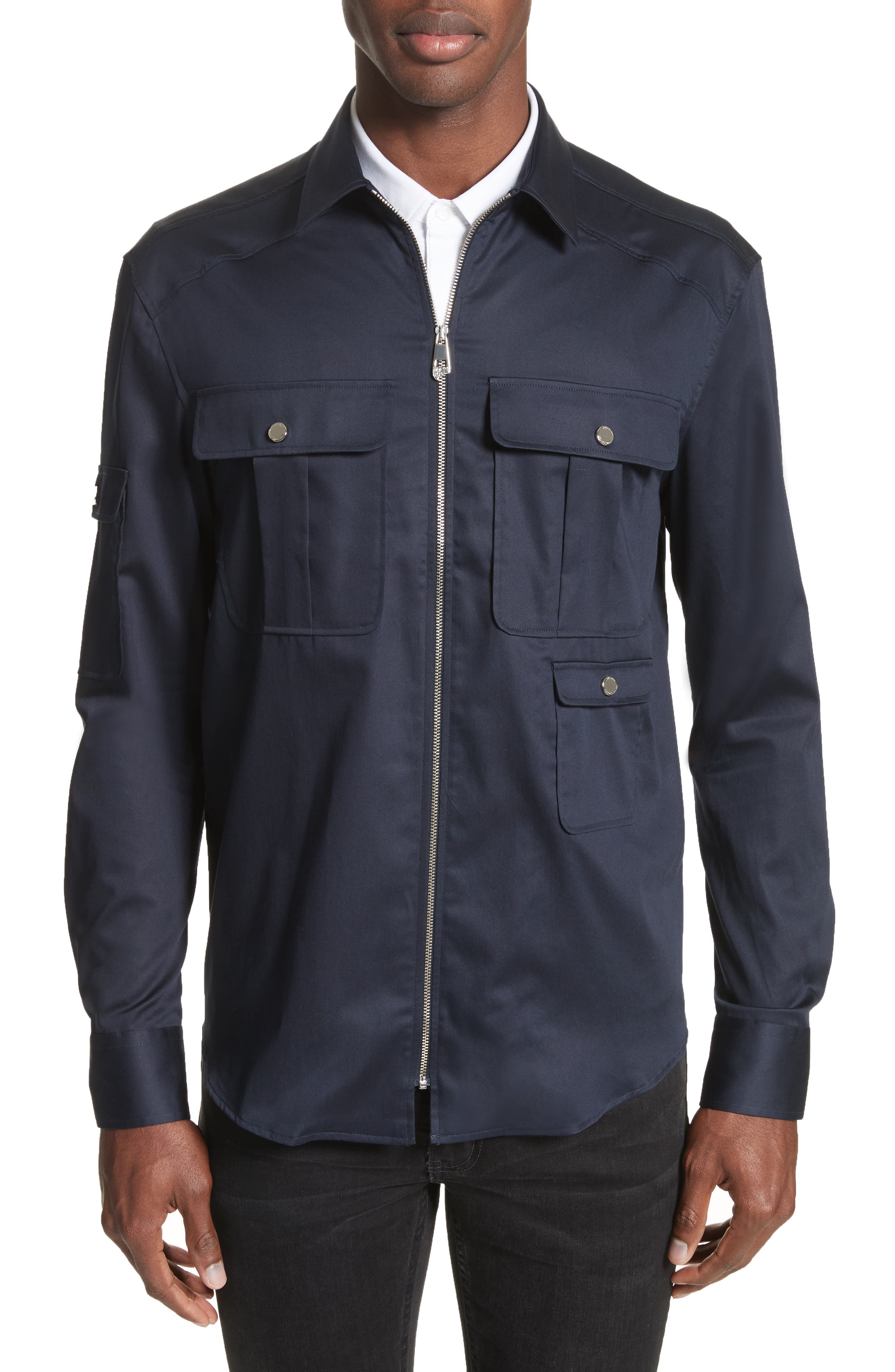 Zip Front Stretch Cotton Shirt,                         Main,                         color, Navy