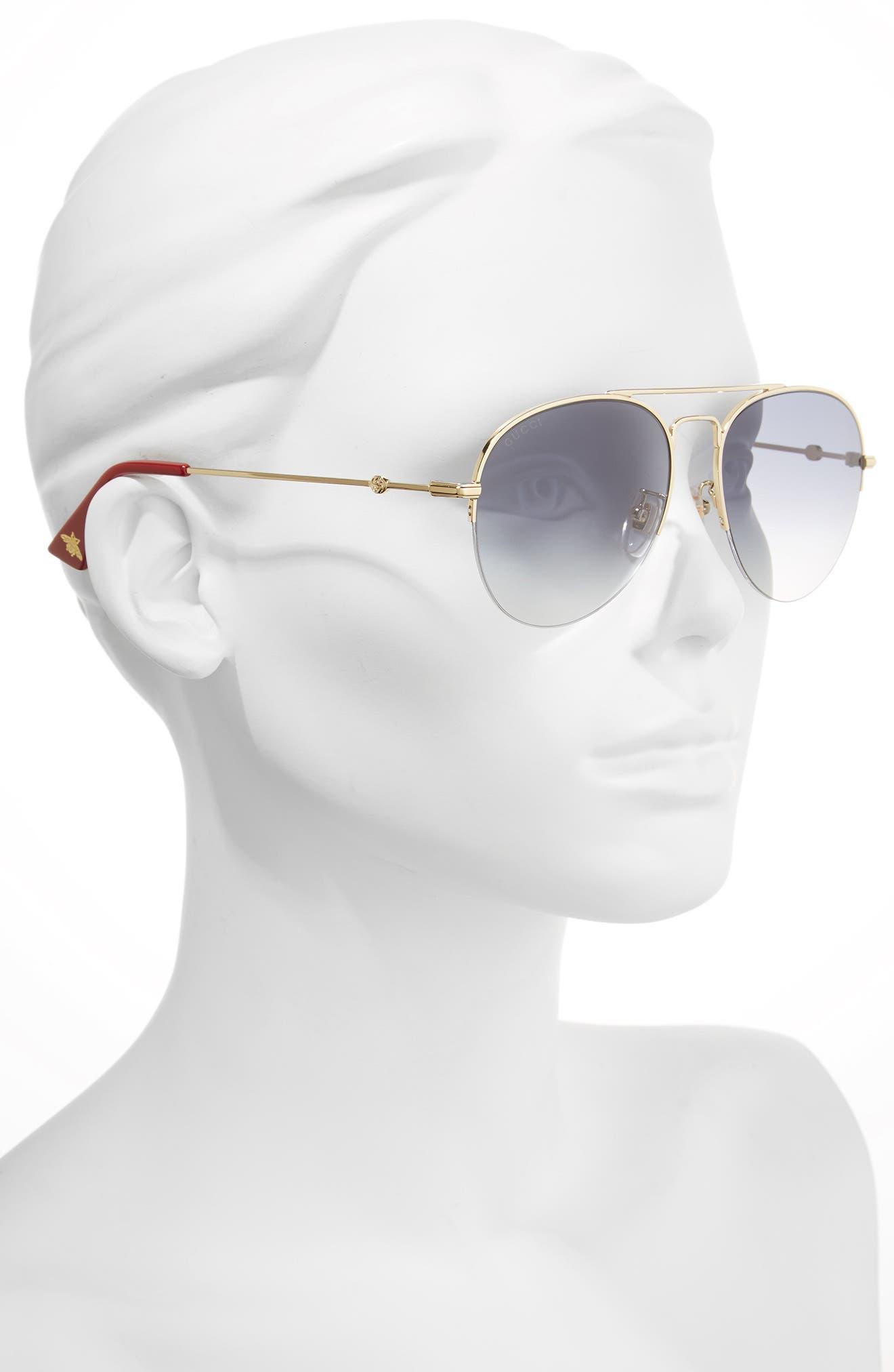 Alternate Image 2  - Gucci 56mm Aviator Sunglasses