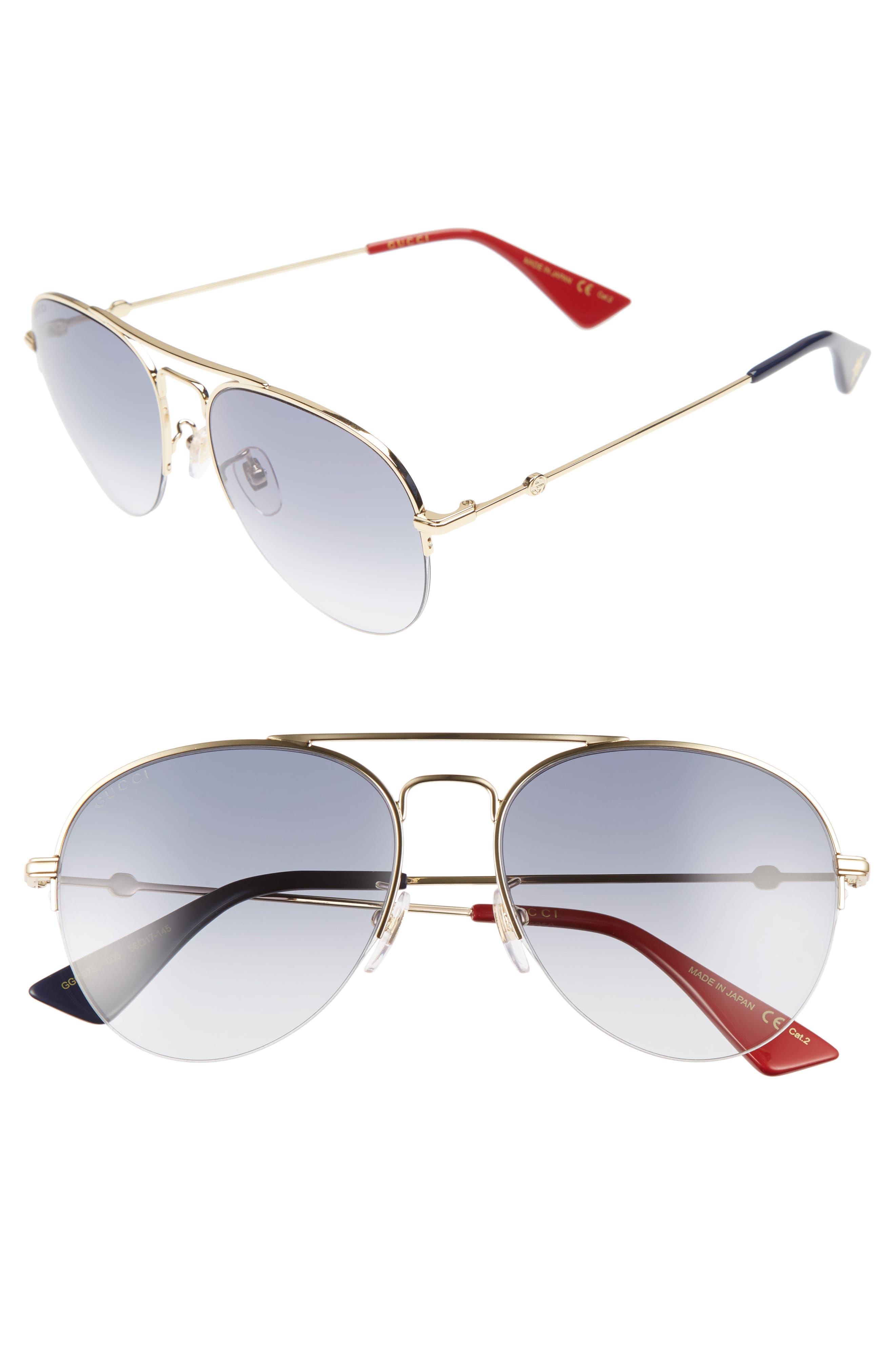 Main Image - Gucci 56mm Aviator Sunglasses