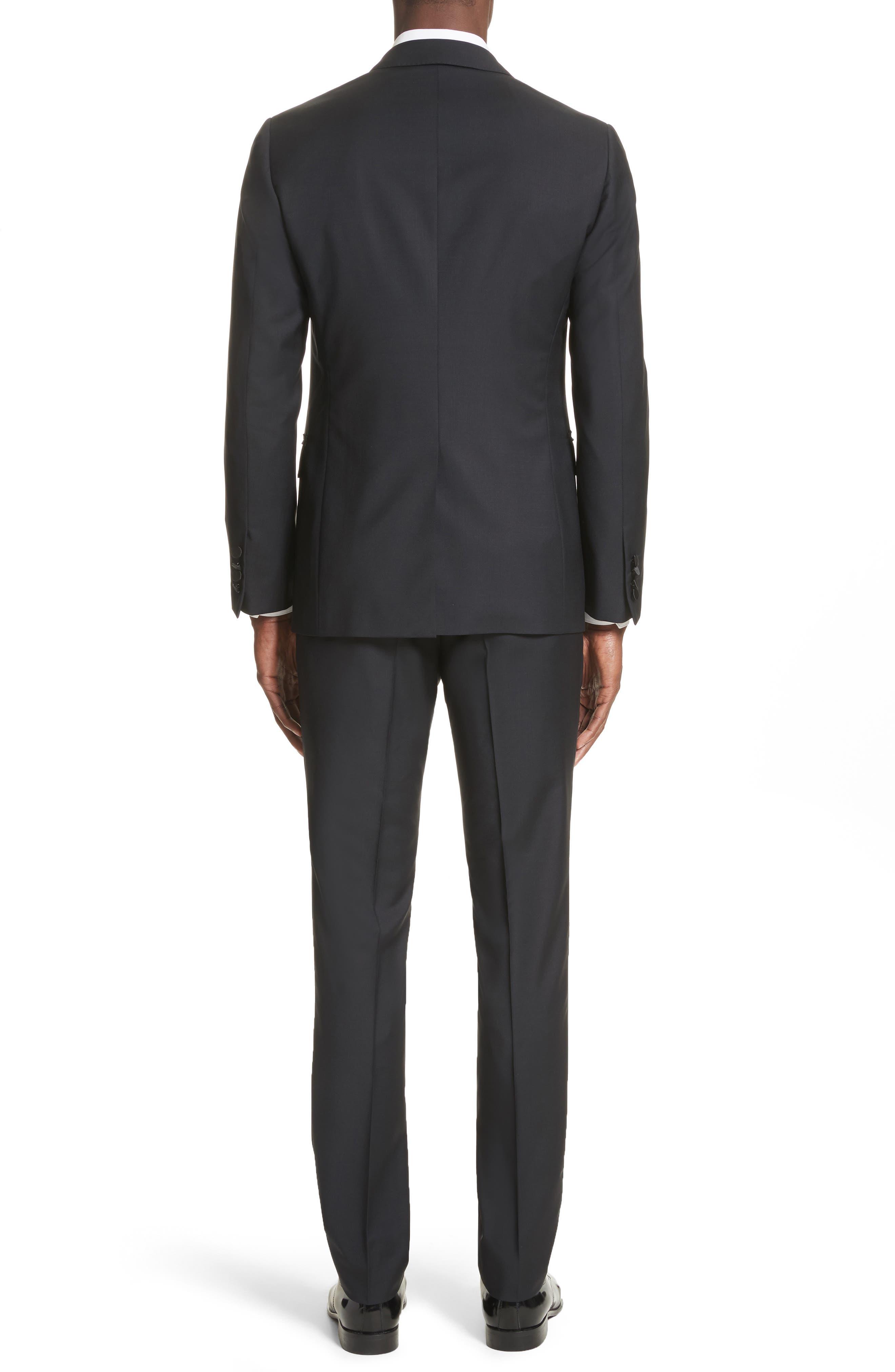 Peak Lapel Wool Blend Tuxedo,                             Alternate thumbnail 2, color,                             Navy