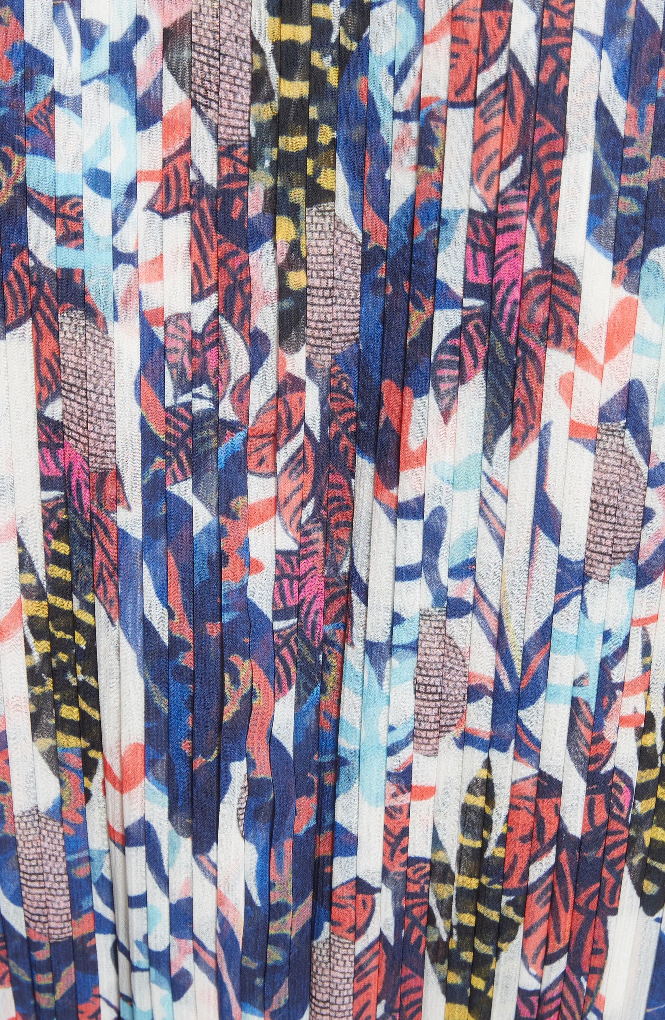 Print Pleated Chiffon Dress,                             Alternate thumbnail 5, color,                             Cream Multi