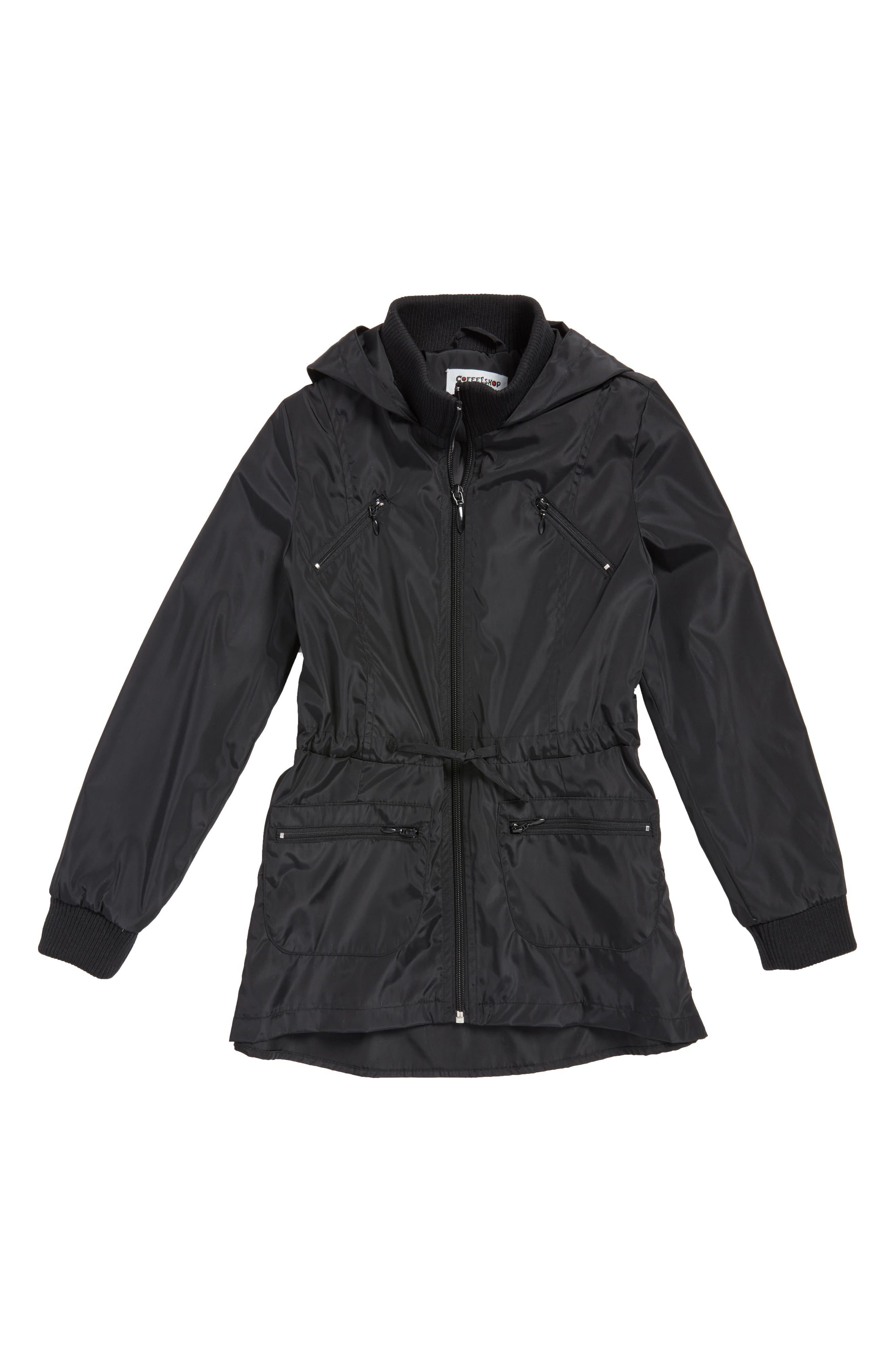 Rain Jacket,                             Main thumbnail 1, color,                             Black