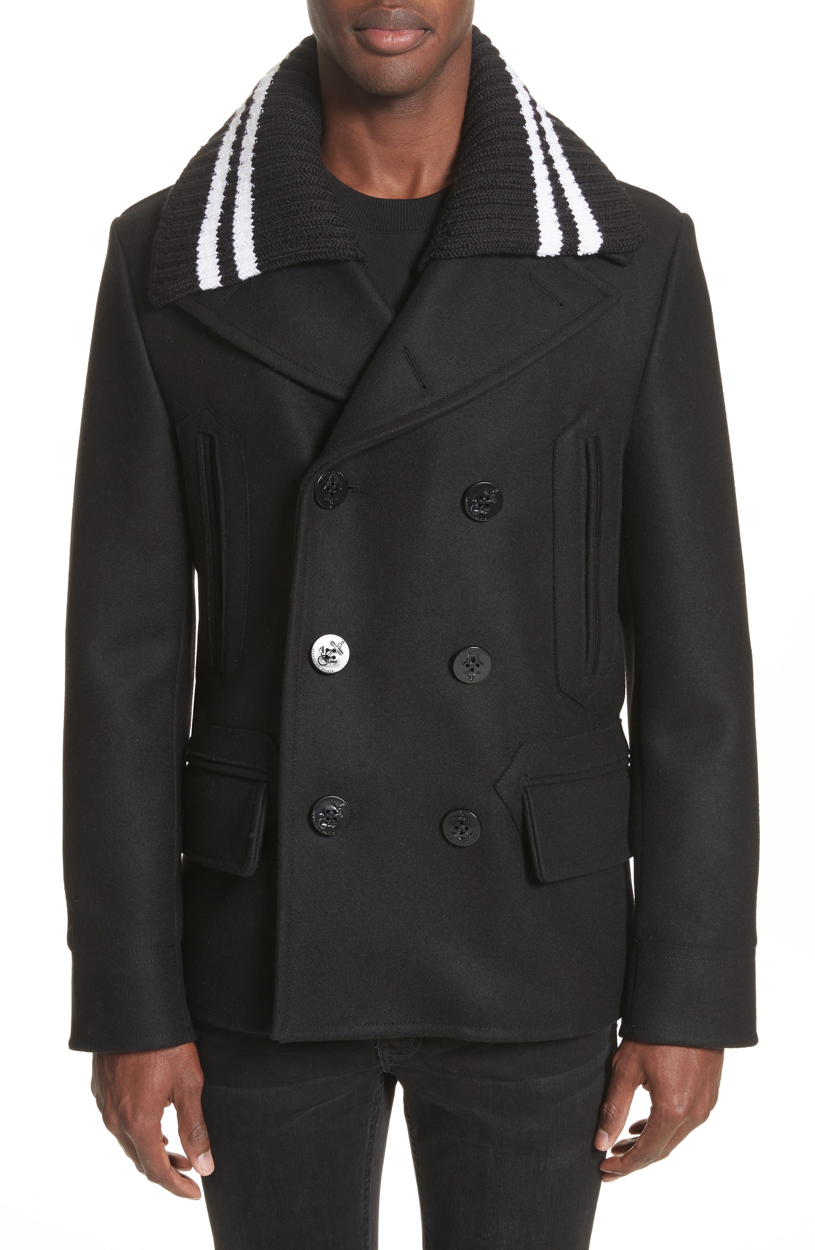 Knit Collar Peacoat,                         Main,                         color, Black