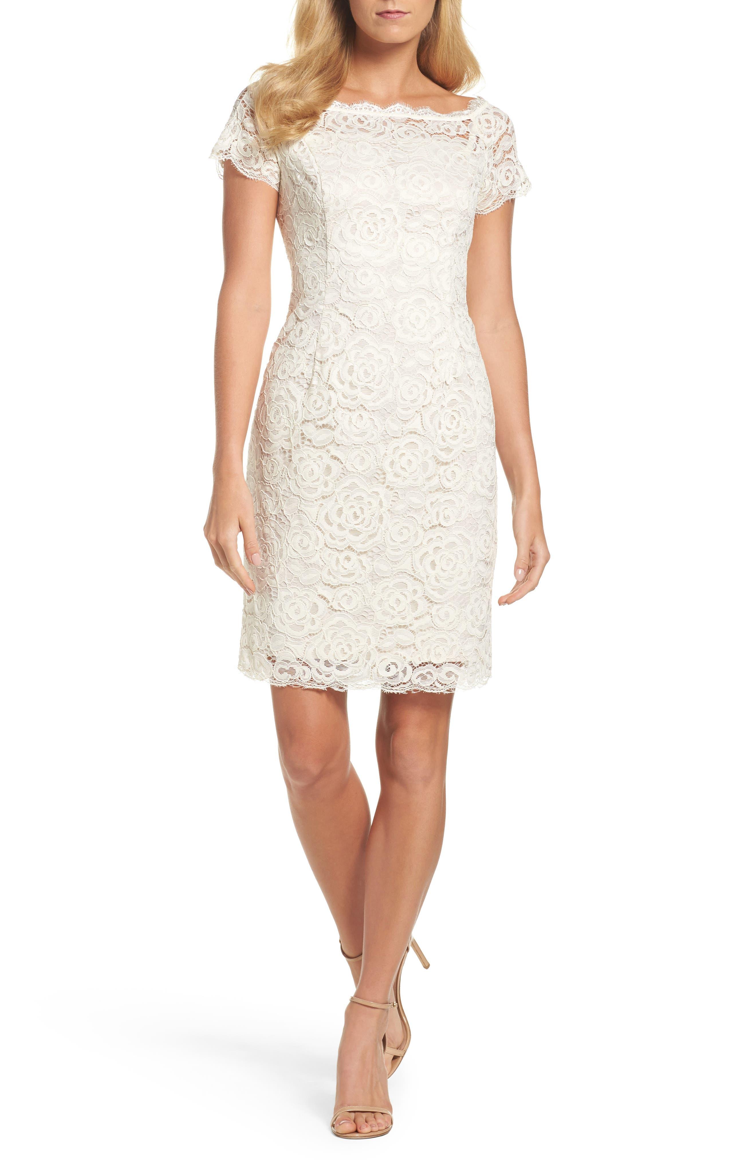 Main Image - Adrianna PapellOff the Shoulder Lace Sheath Dress (Regular & Petite)