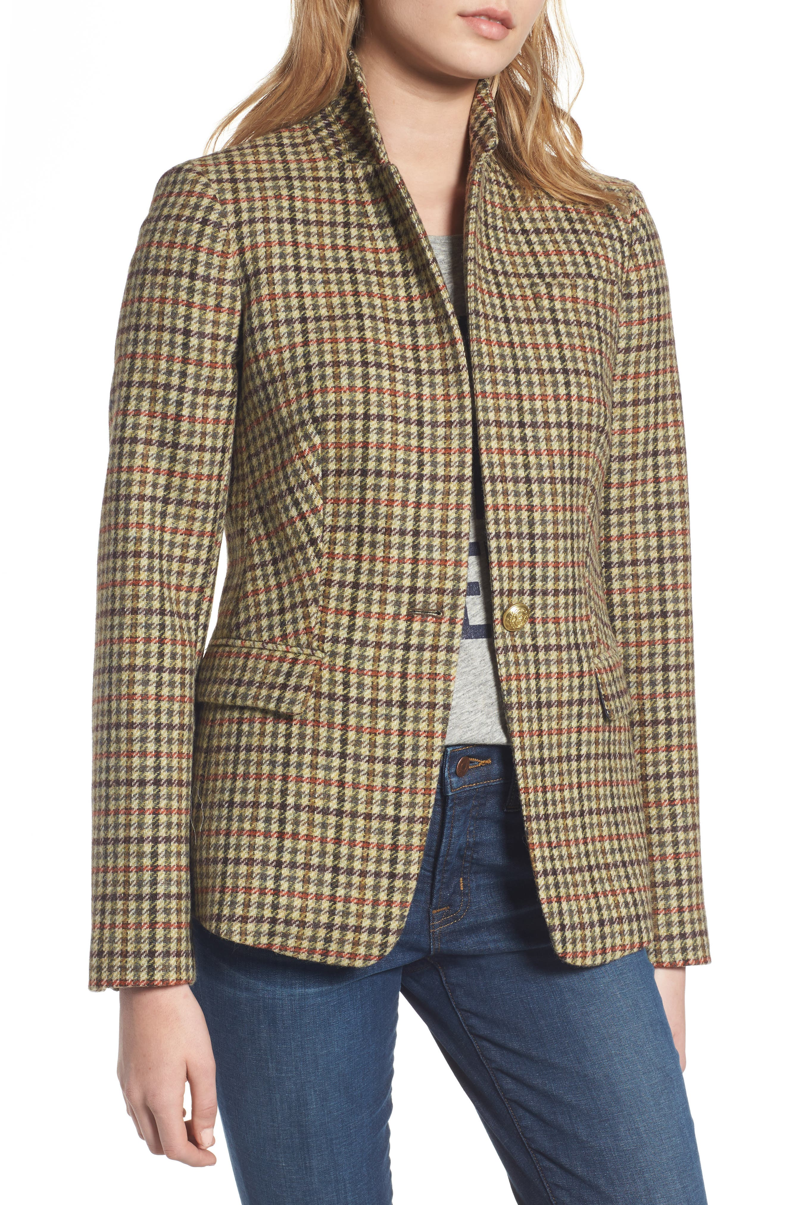 Main Image - J.Crew Regent Houndstooth Plaid Blazer (Regular & Petite)