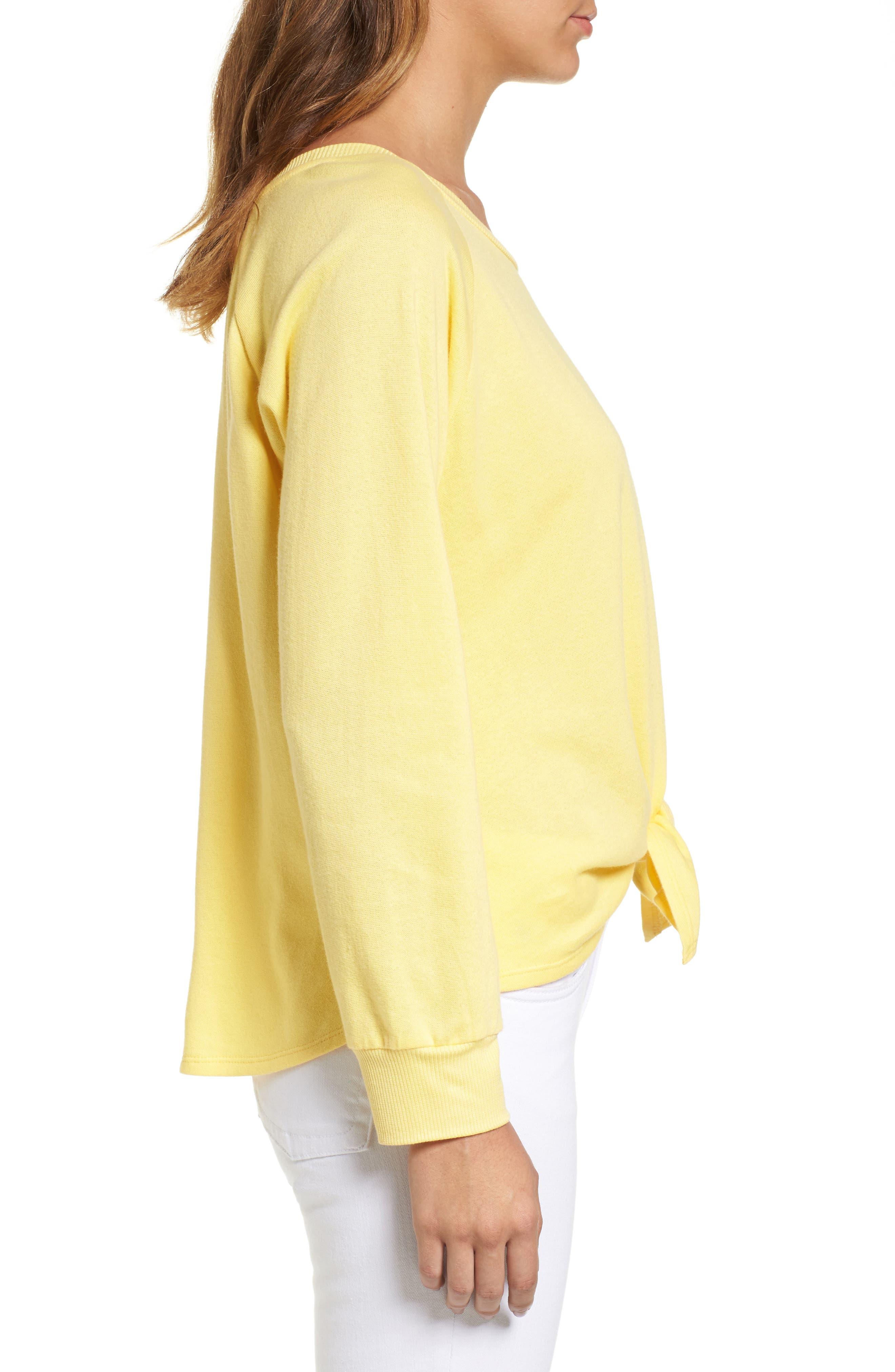 Alternate Image 3  - Caslon® Tie Front Cotton Blend Sweatshirt (Regular & Petite)