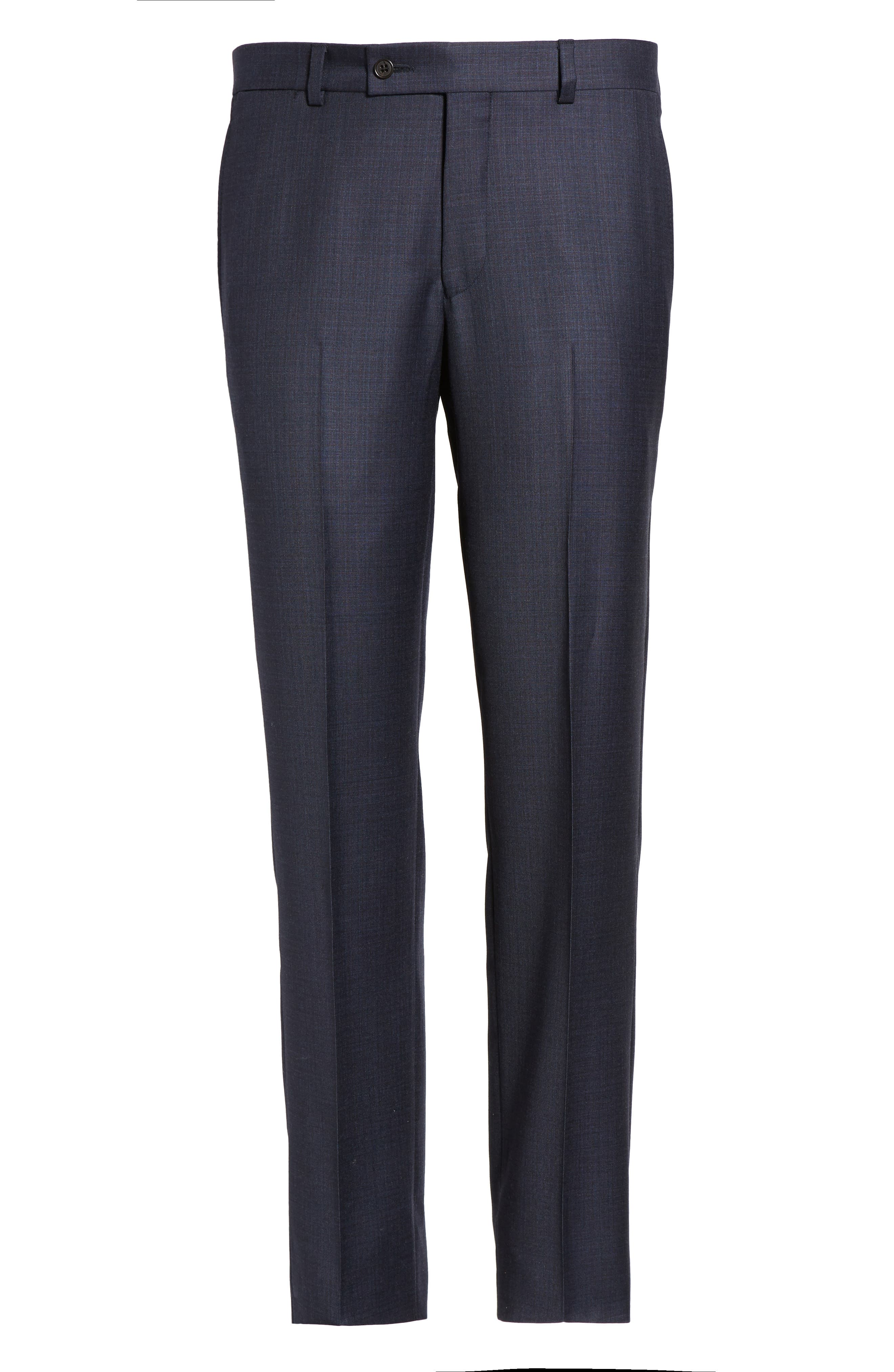 Jefferson Flat Front Solid Wool Trousers,                             Alternate thumbnail 6, color,                             Navy