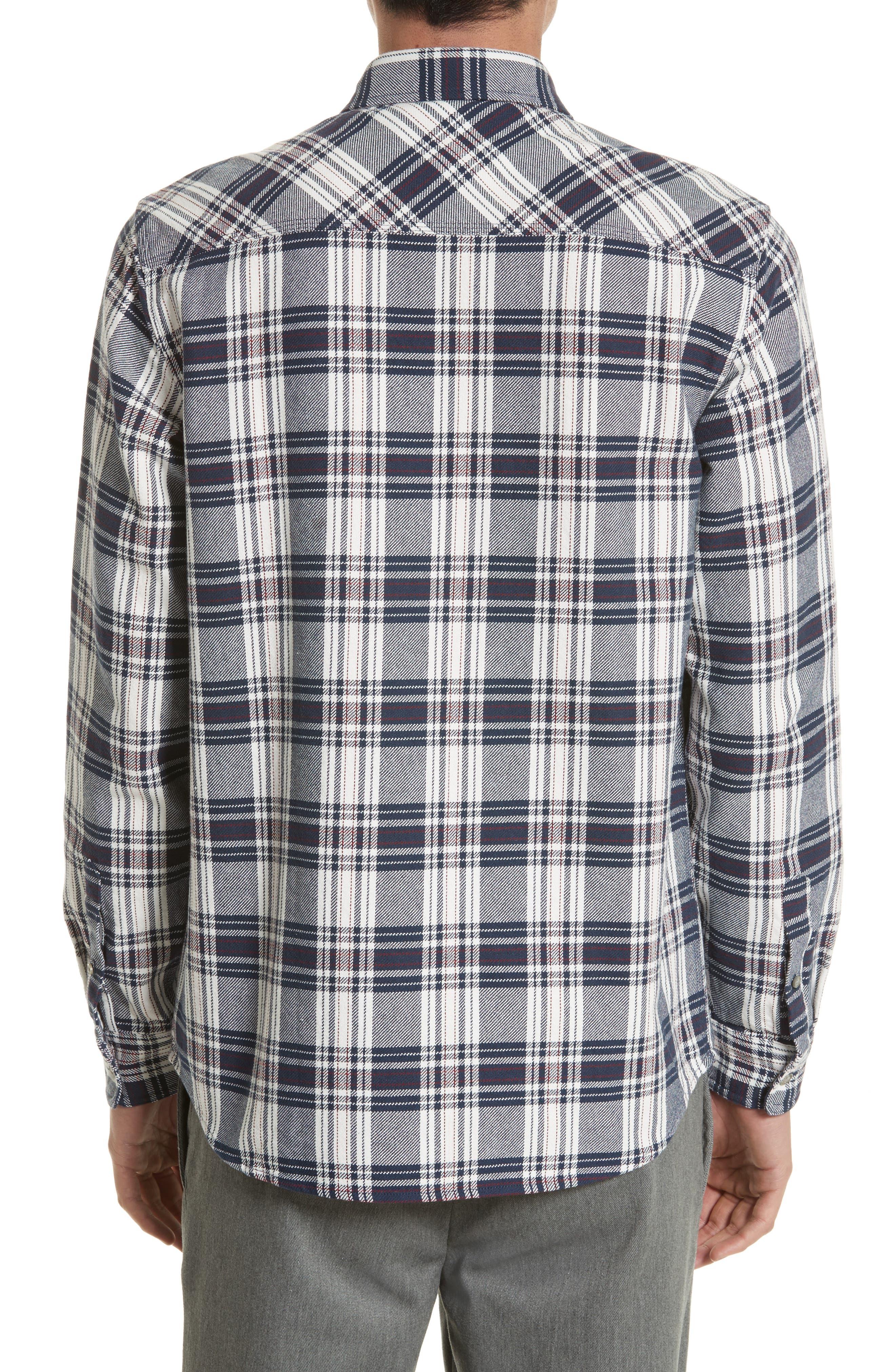 Twill Flannel Shirt,                             Alternate thumbnail 3, color,                             Snow/ Blue