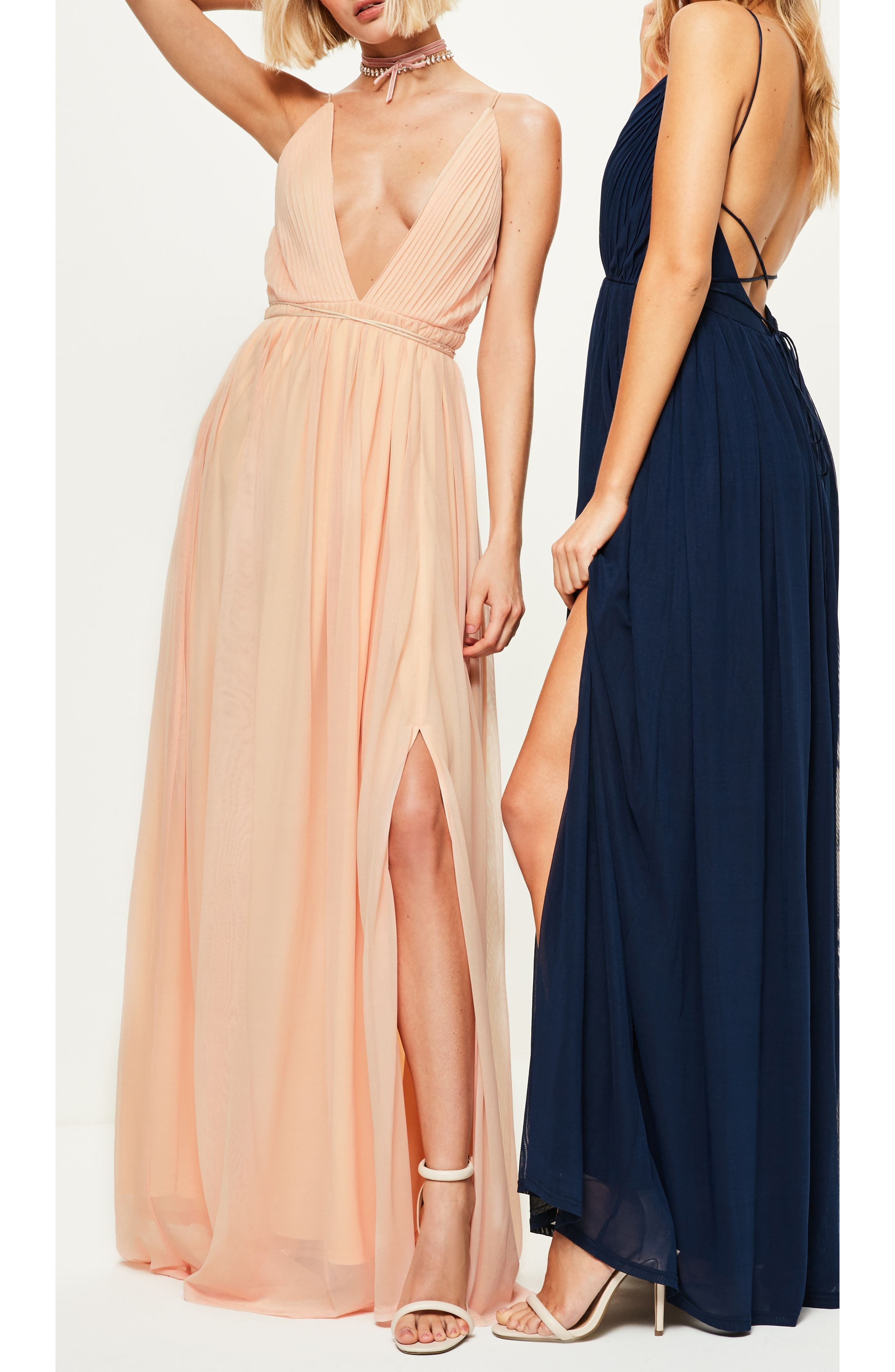 Plunging Neck Maxi Dress,                             Alternate thumbnail 5, color,                             Nude