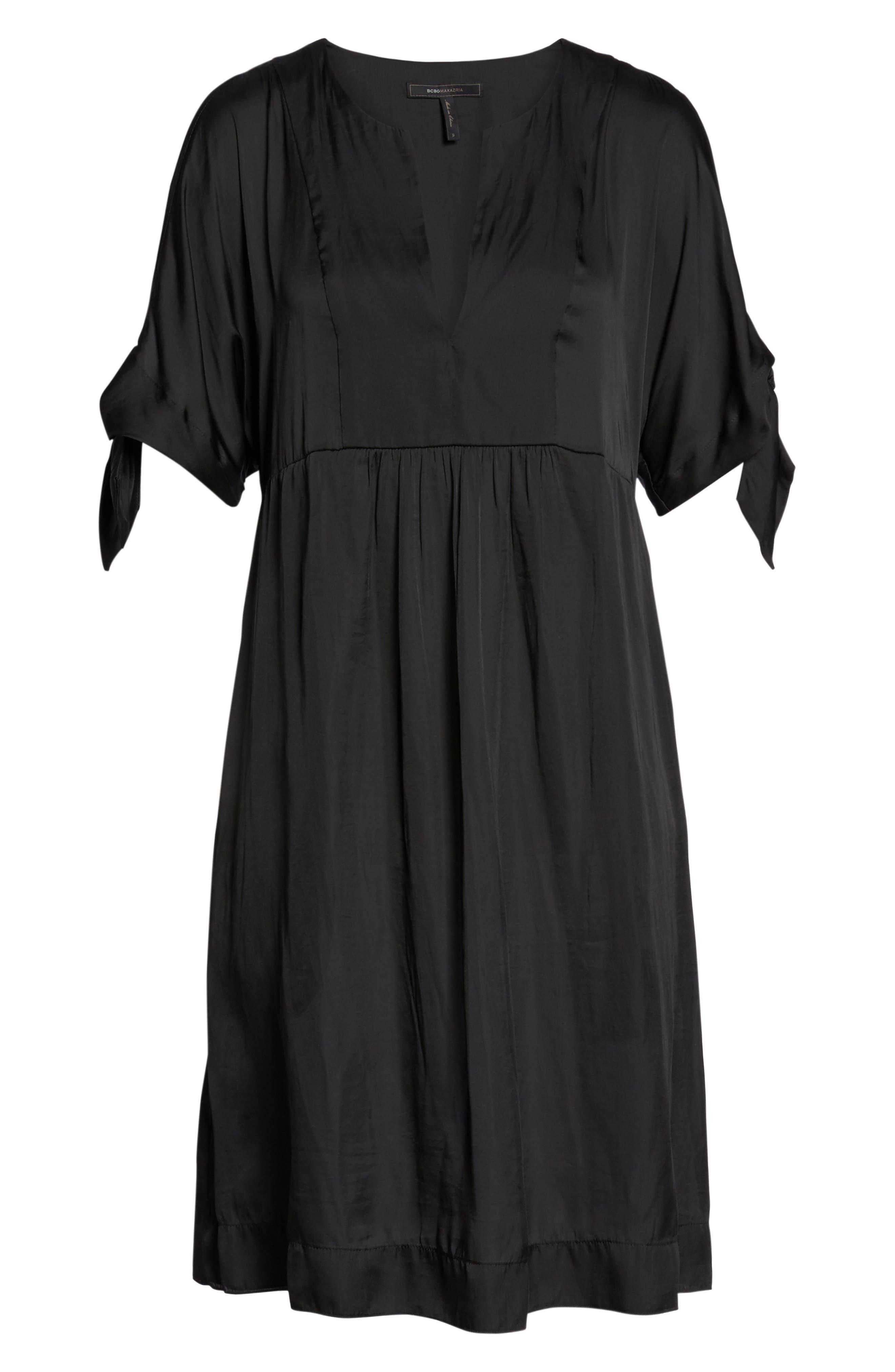 Split Sleeve Dress,                             Alternate thumbnail 6, color,                             Black