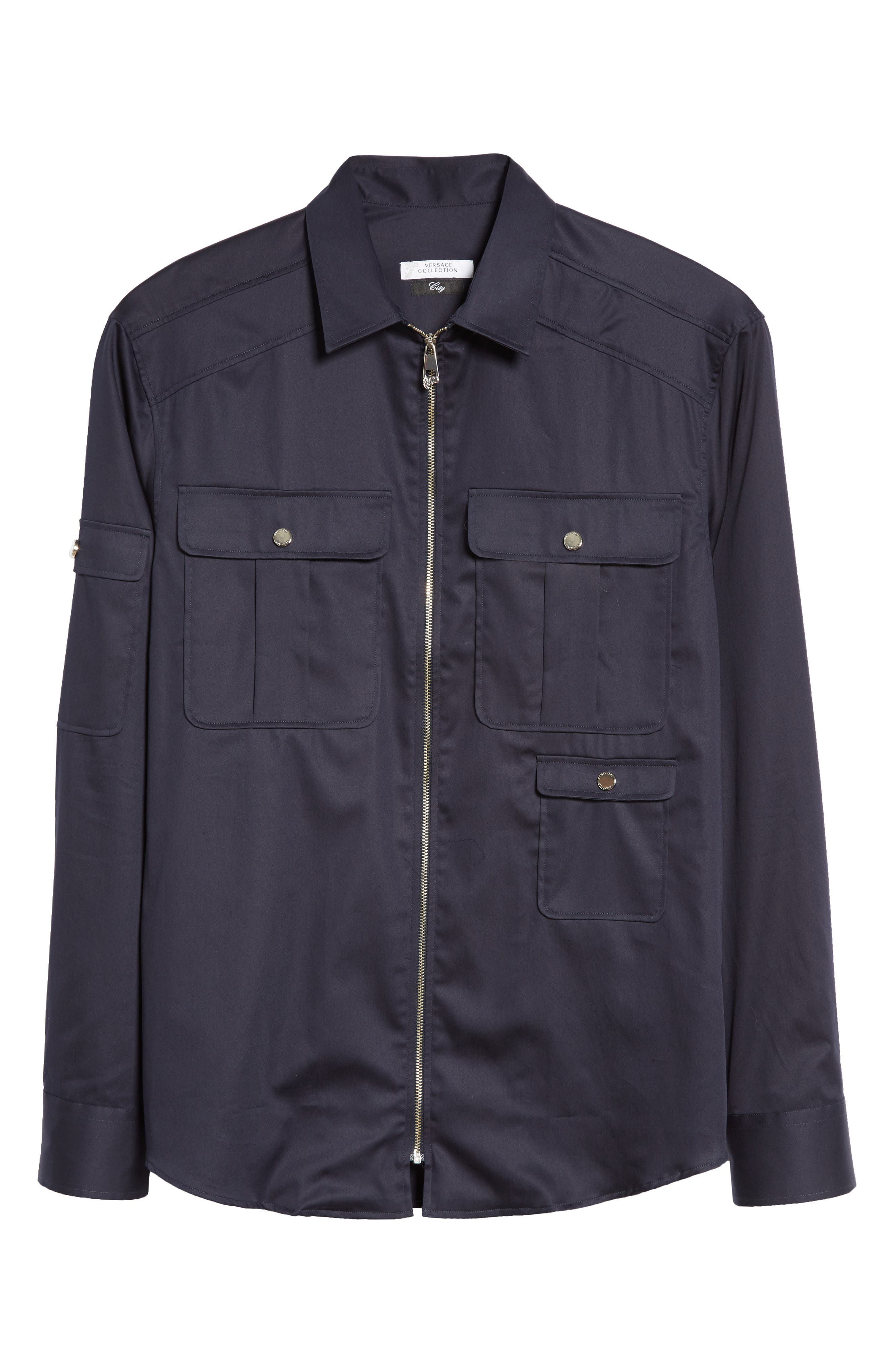 Alternate Image 6  - Versace Collection Zip Front Stretch Cotton Shirt