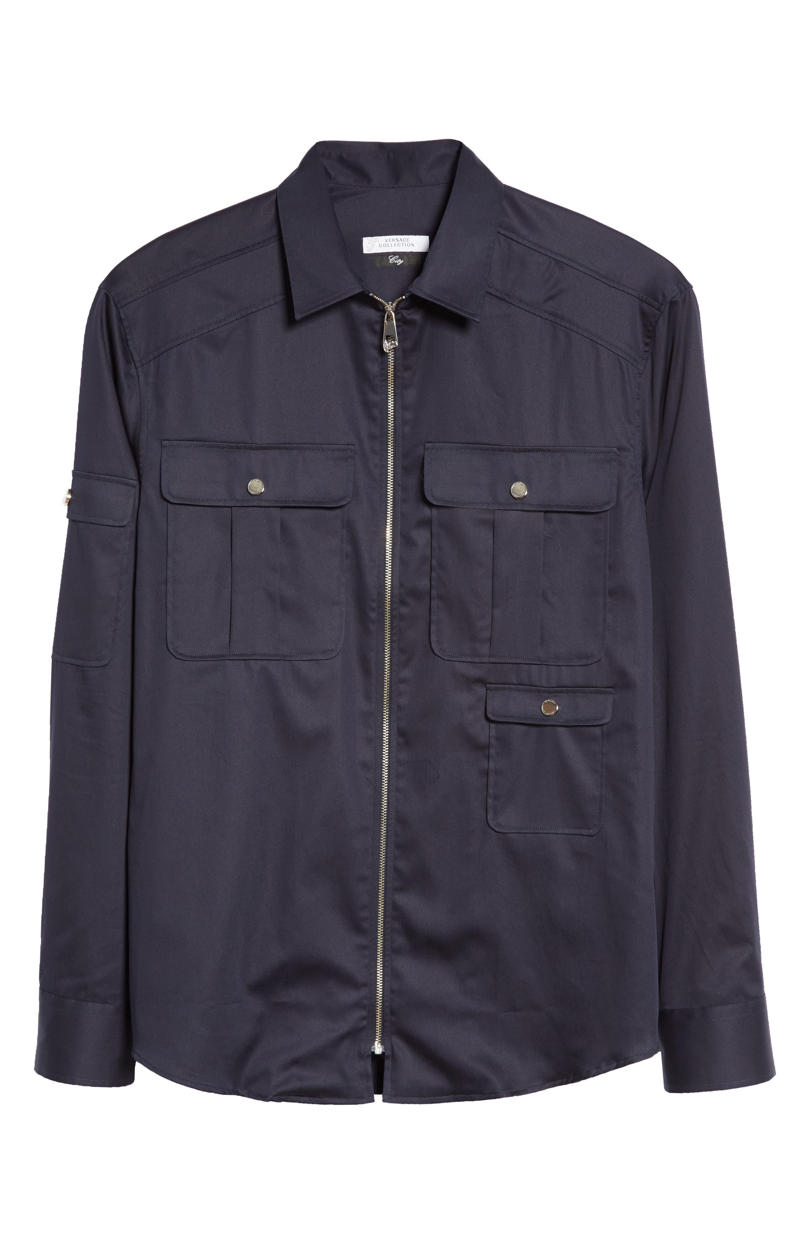 Zip Front Stretch Cotton Shirt,                             Alternate thumbnail 6, color,                             Navy
