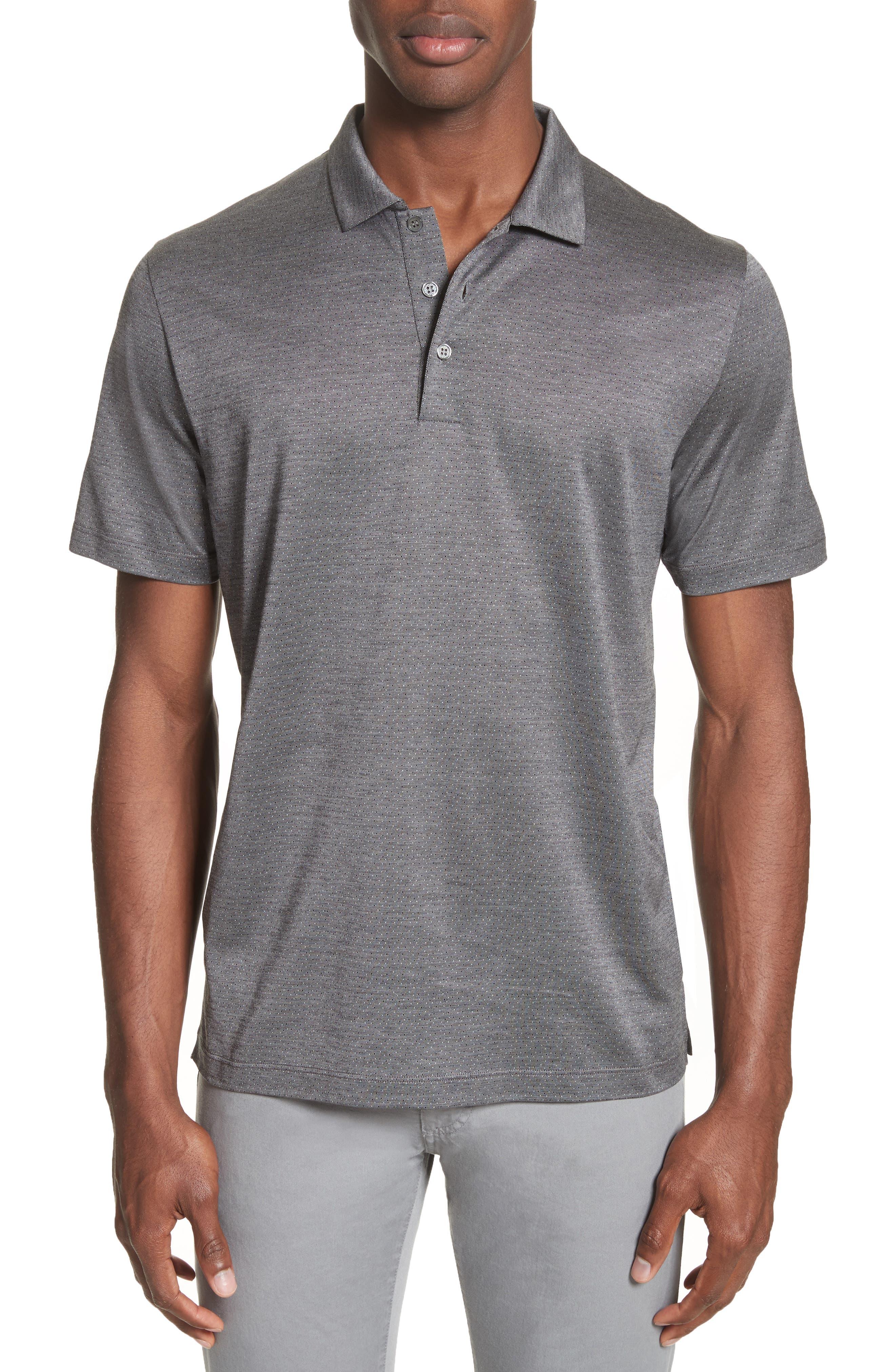 Fancy Slim Fit Polo,                         Main,                         color, Medium Grey