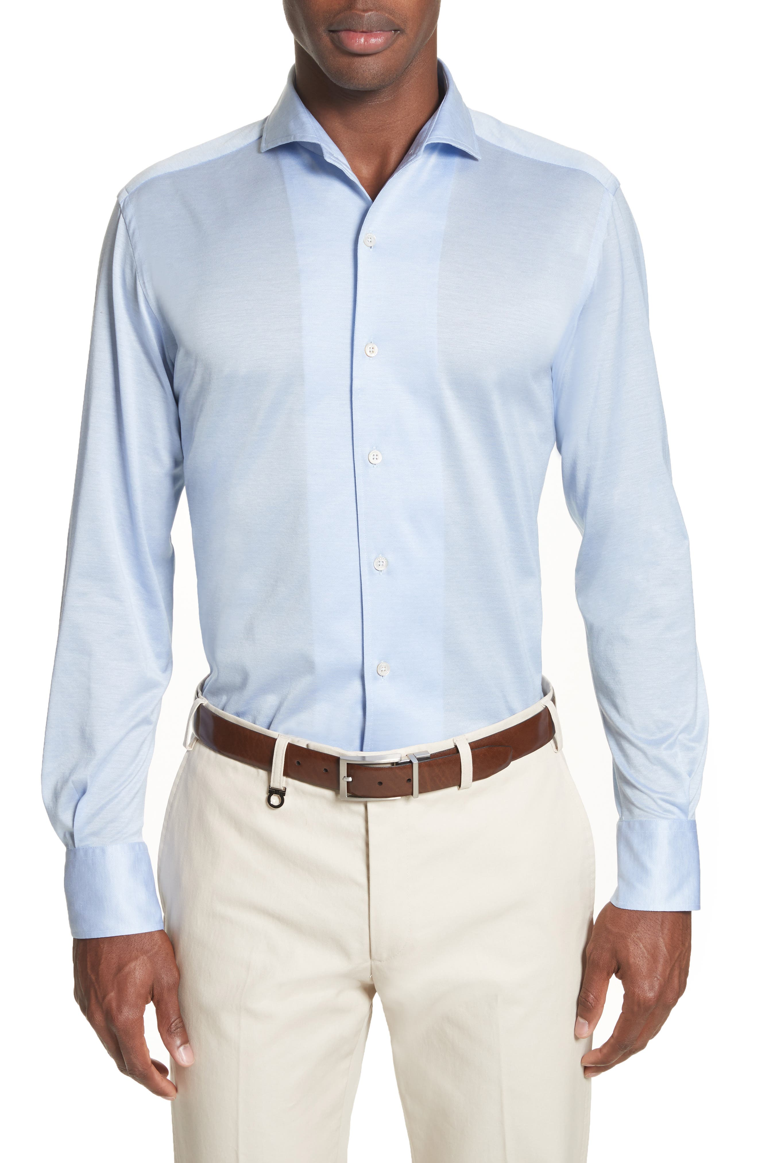 Main Image - Canali Slim Fit Solid Sport Shirt
