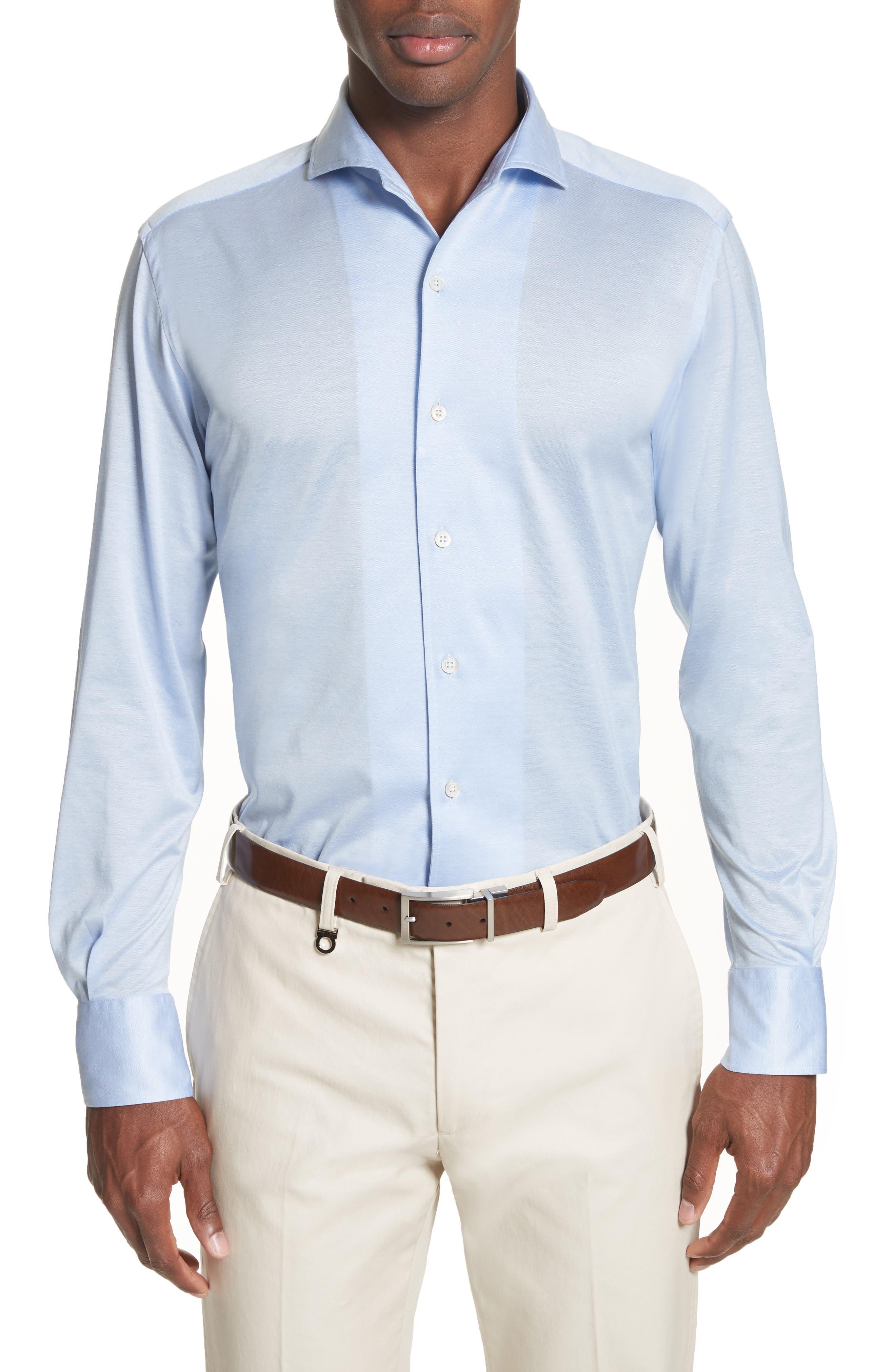Slim Fit Solid Sport Shirt,                         Main,                         color, Light Blue