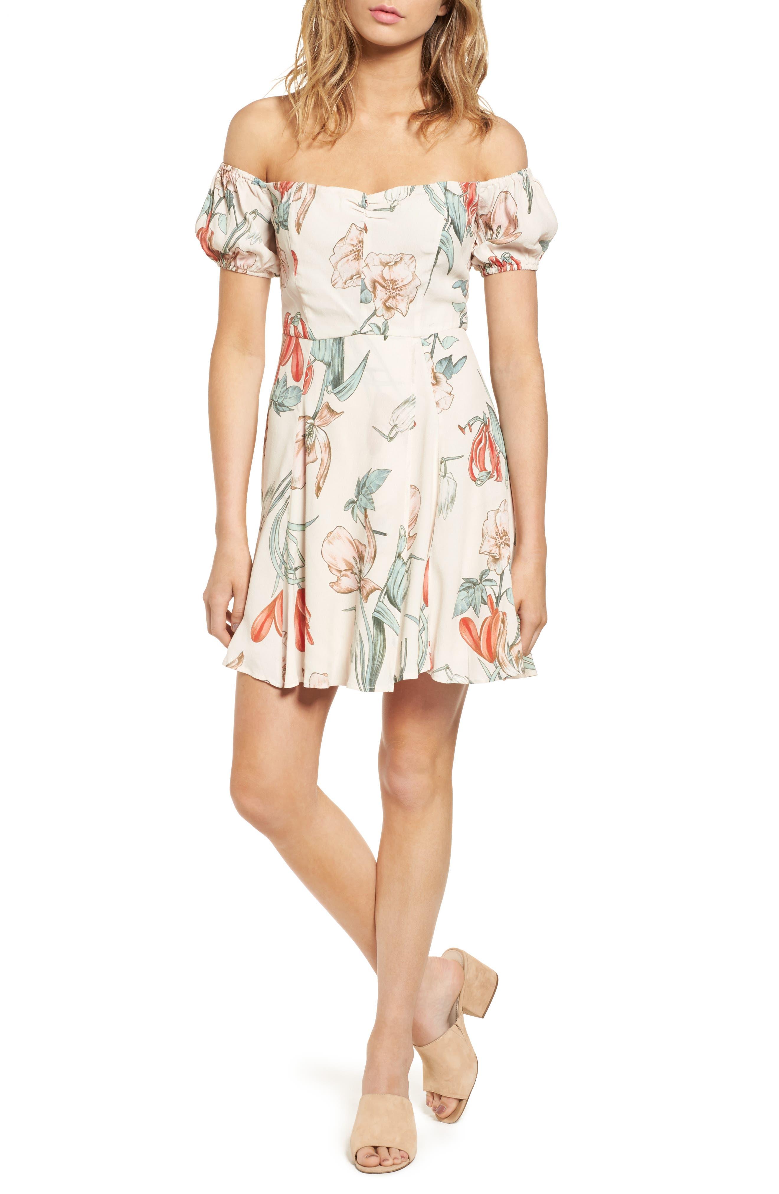 ASTR the Label Floral Print Off the Shoulder A-Line Dress
