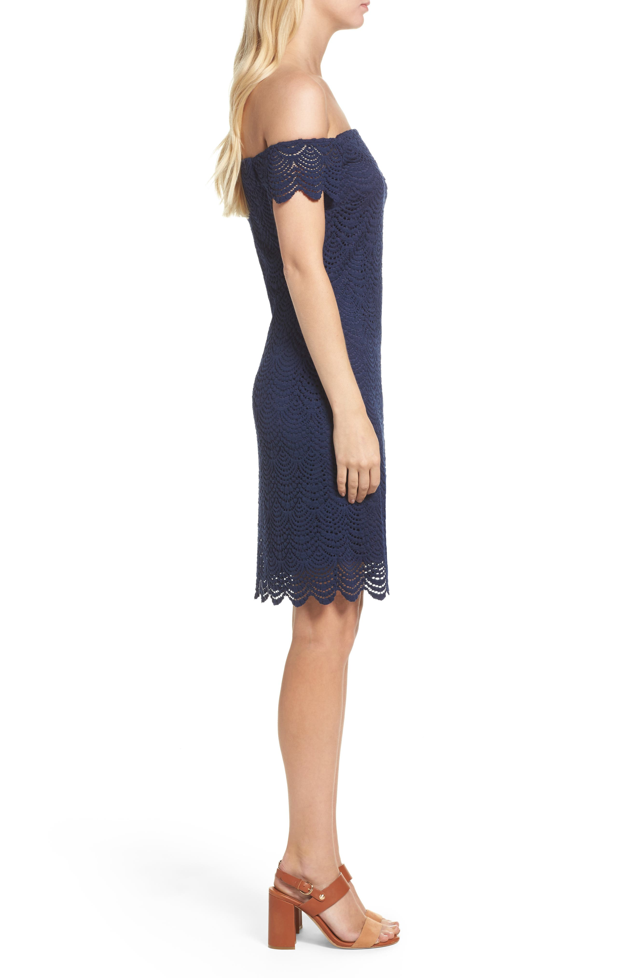 Jade Lace Off the Shoulder Dress,                             Alternate thumbnail 3, color,                             True Navy