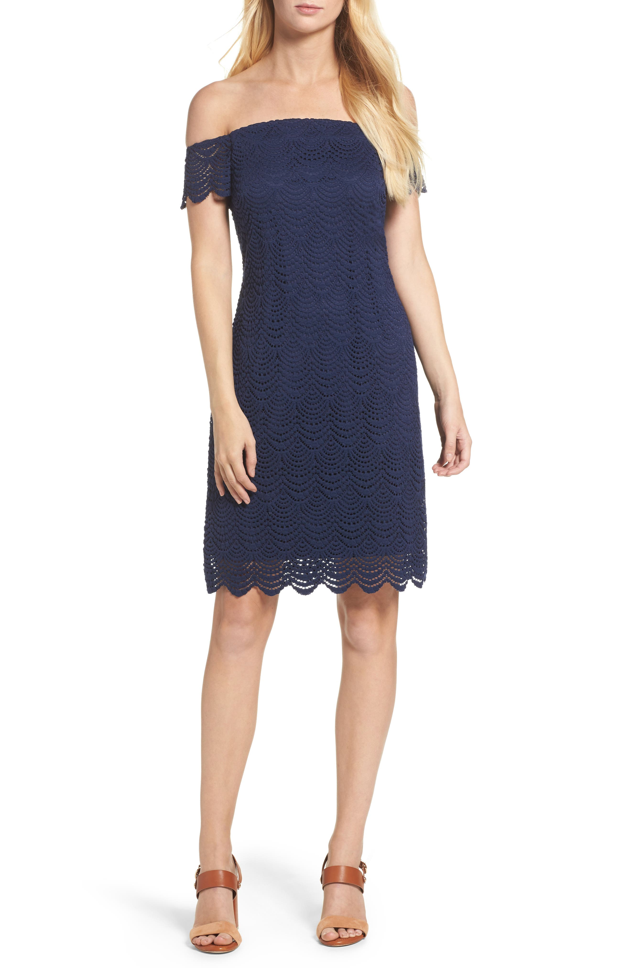 Jade Lace Off the Shoulder Dress,                             Main thumbnail 1, color,                             True Navy