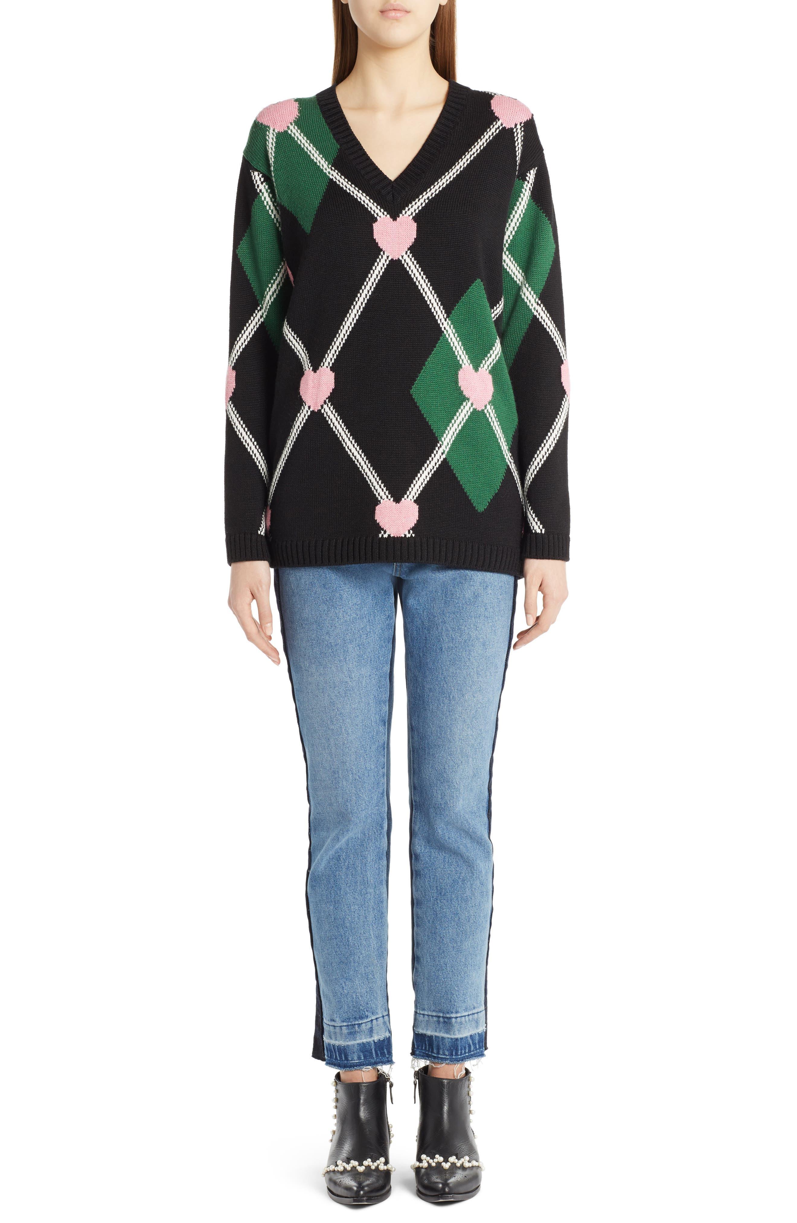 Argyle Heart Sweater,                             Alternate thumbnail 2, color,                             Black