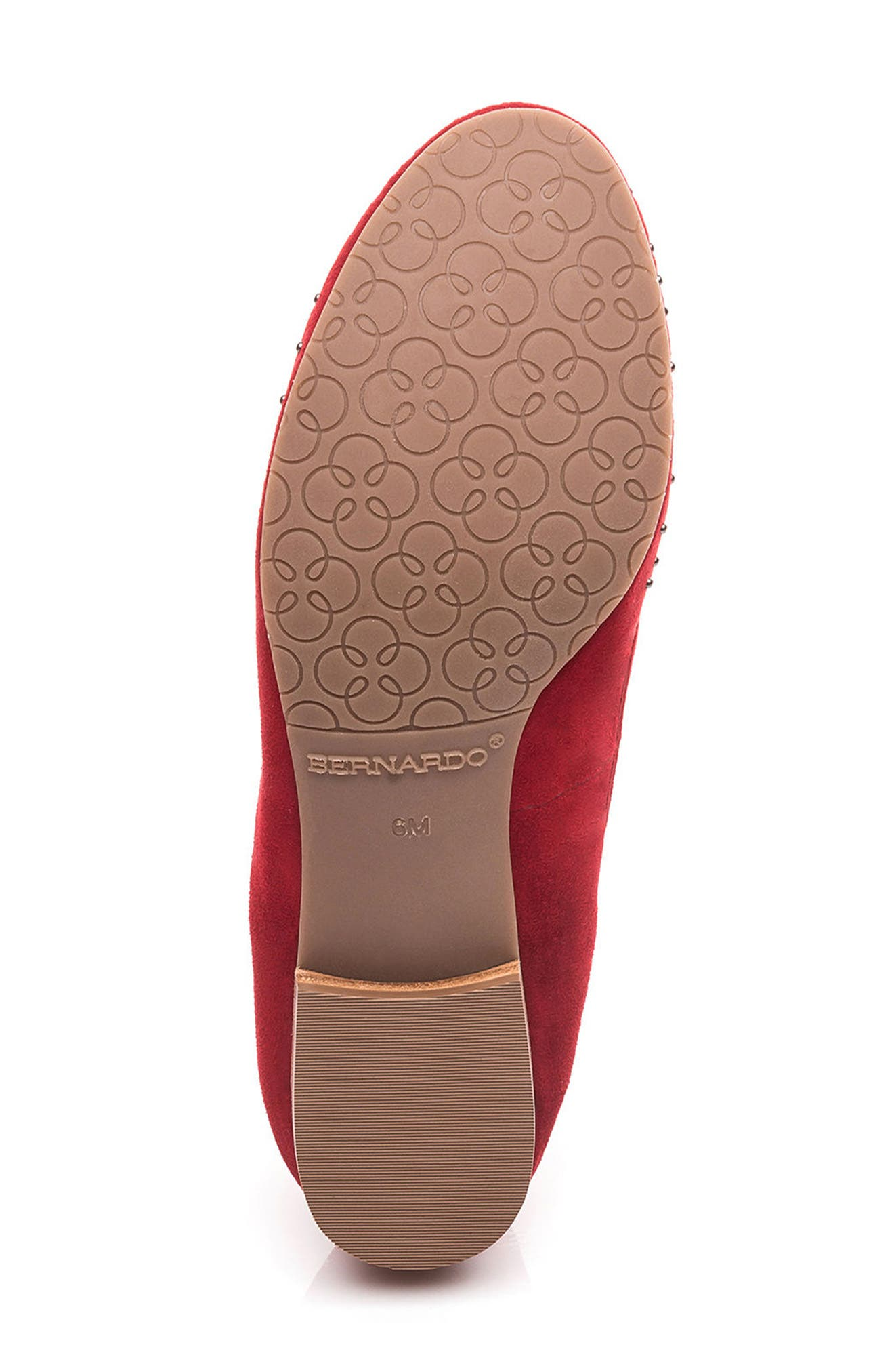 Dallas Studded Flat,                             Alternate thumbnail 6, color,                             Red Suede