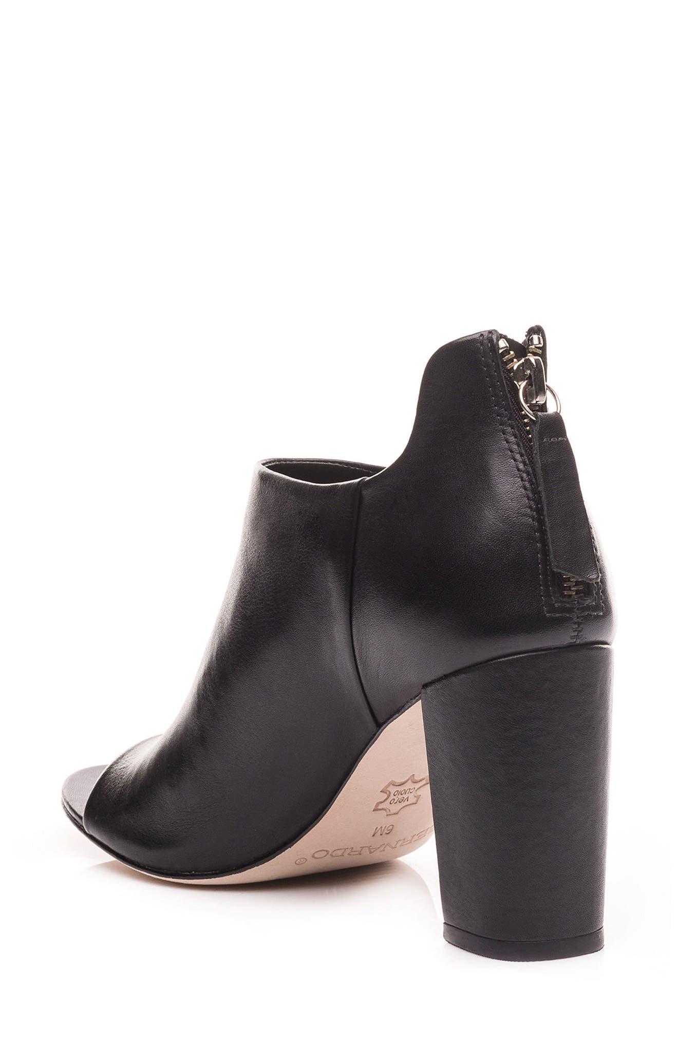 Heather Peep Toe Bootie,                             Alternate thumbnail 2, color,                             Black Leather