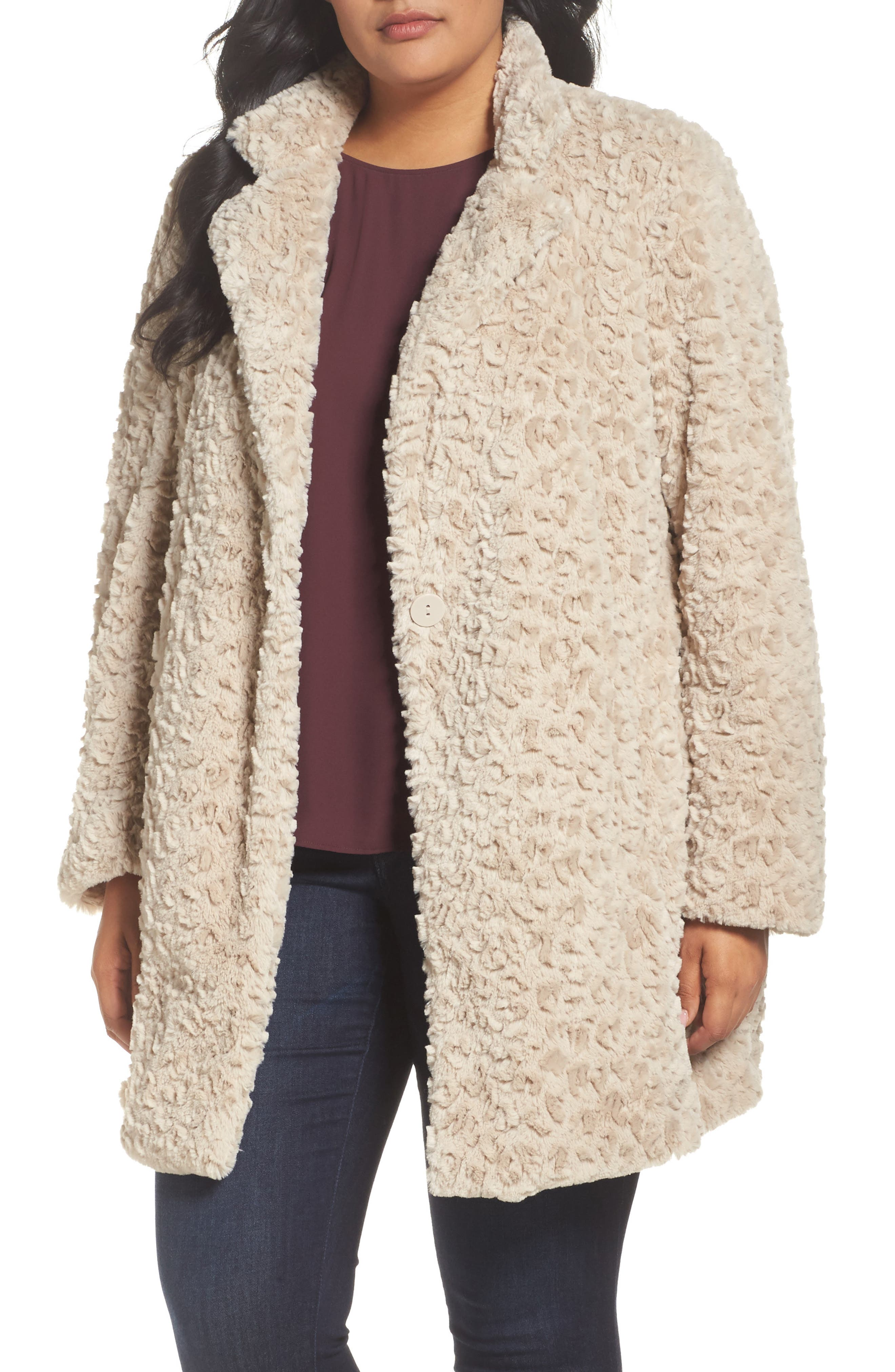 Main Image - Kenneth Cole New York Faux Fur Jacket (Plus Size)