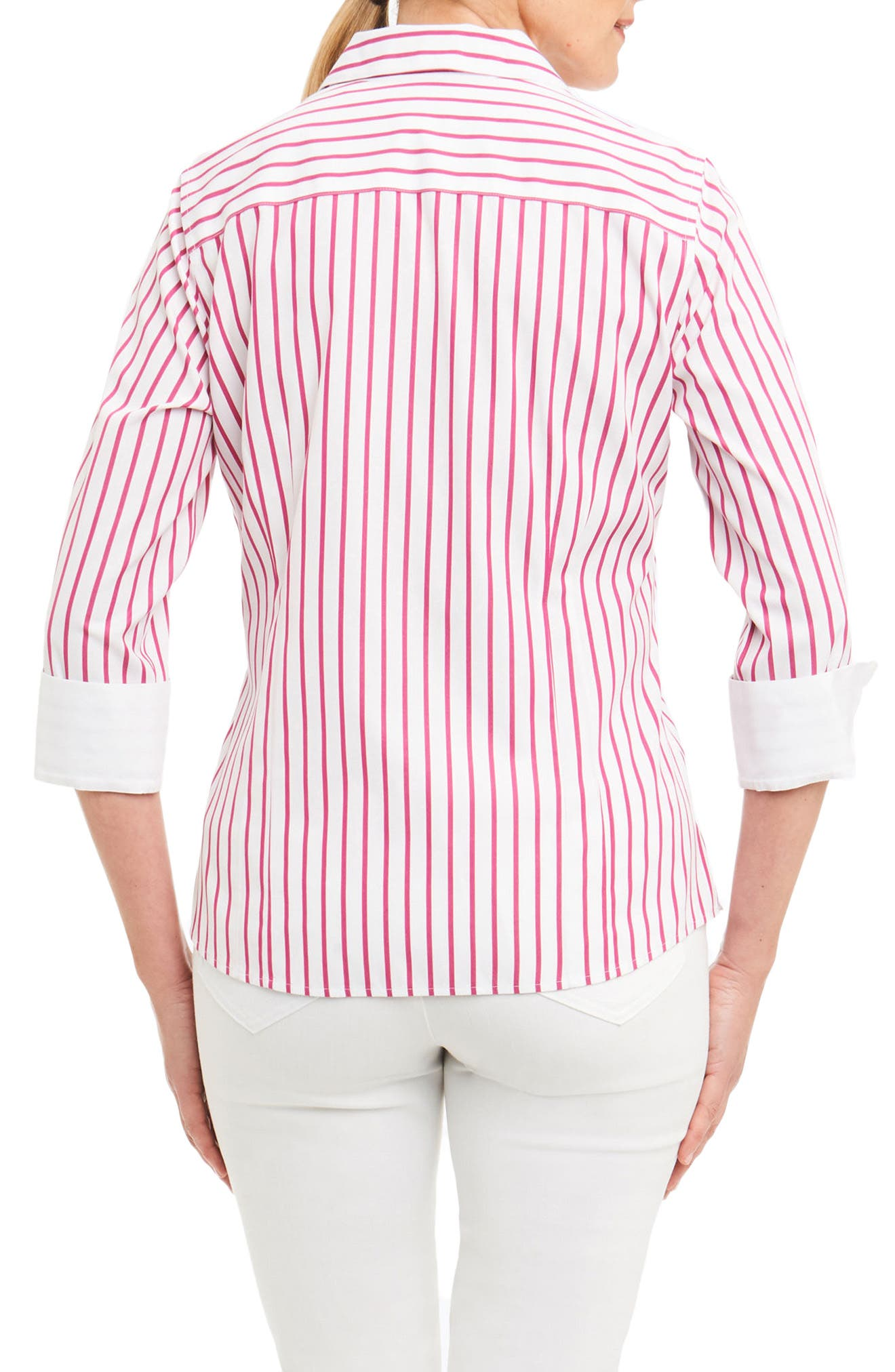 Taylor Non-Iron Stripe Cotton Shirt,                             Alternate thumbnail 2, color,                             Summer Berry