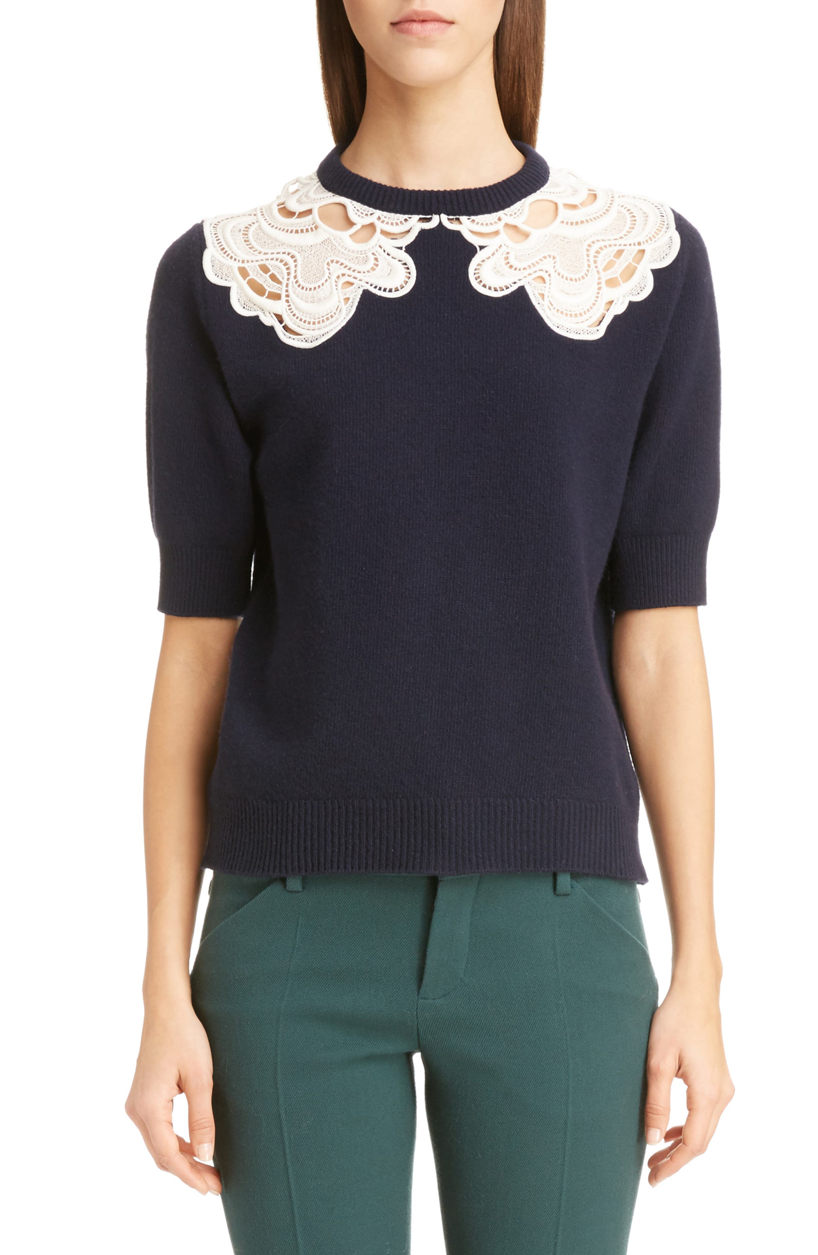 Guipure Lace Detail Wool & Cashmere Sweater,                             Main thumbnail 1, color,                             Iconic Navy