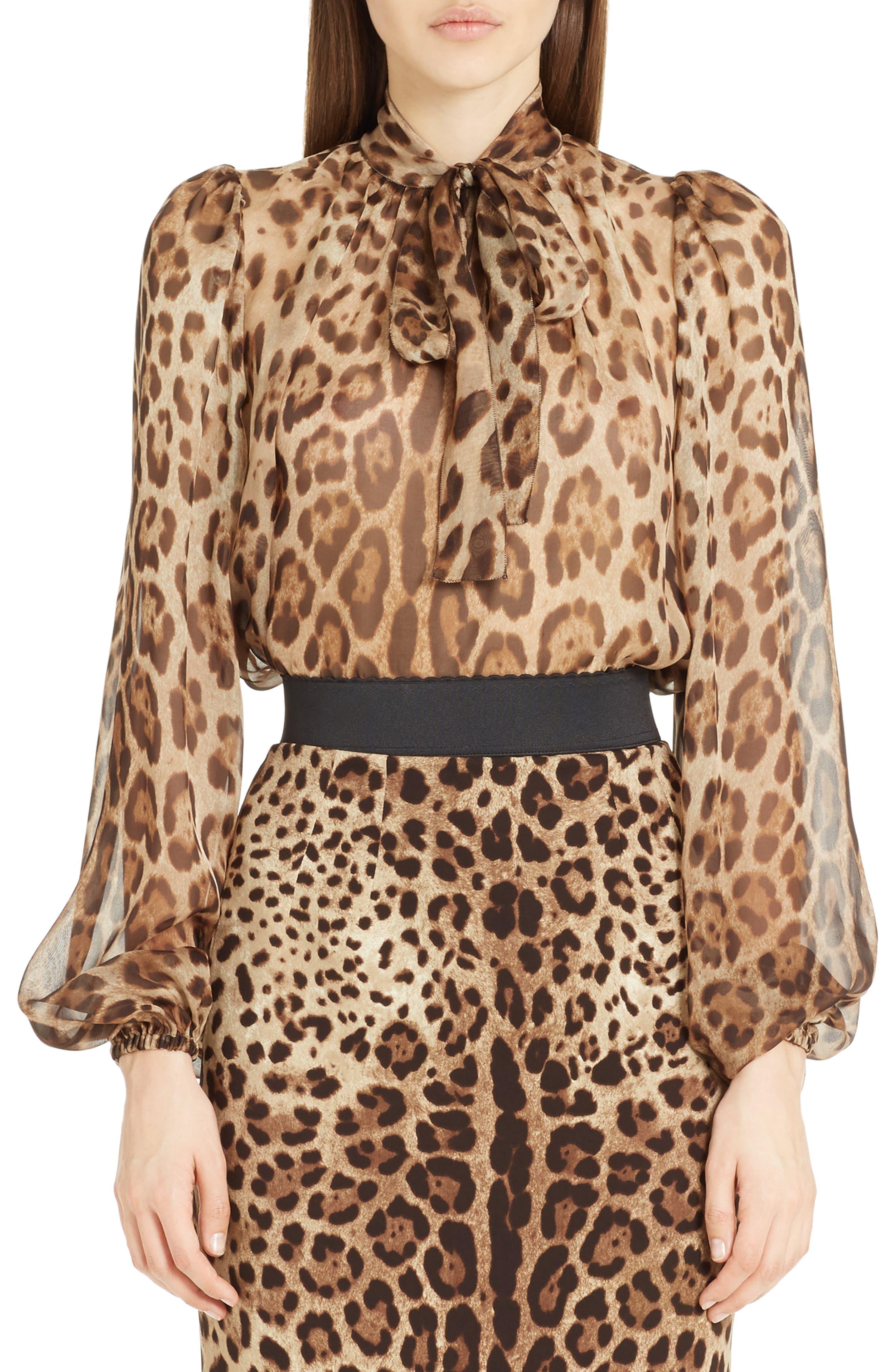Leopard Print Silk Tie Neck Blouse,                         Main,                         color, Leopard