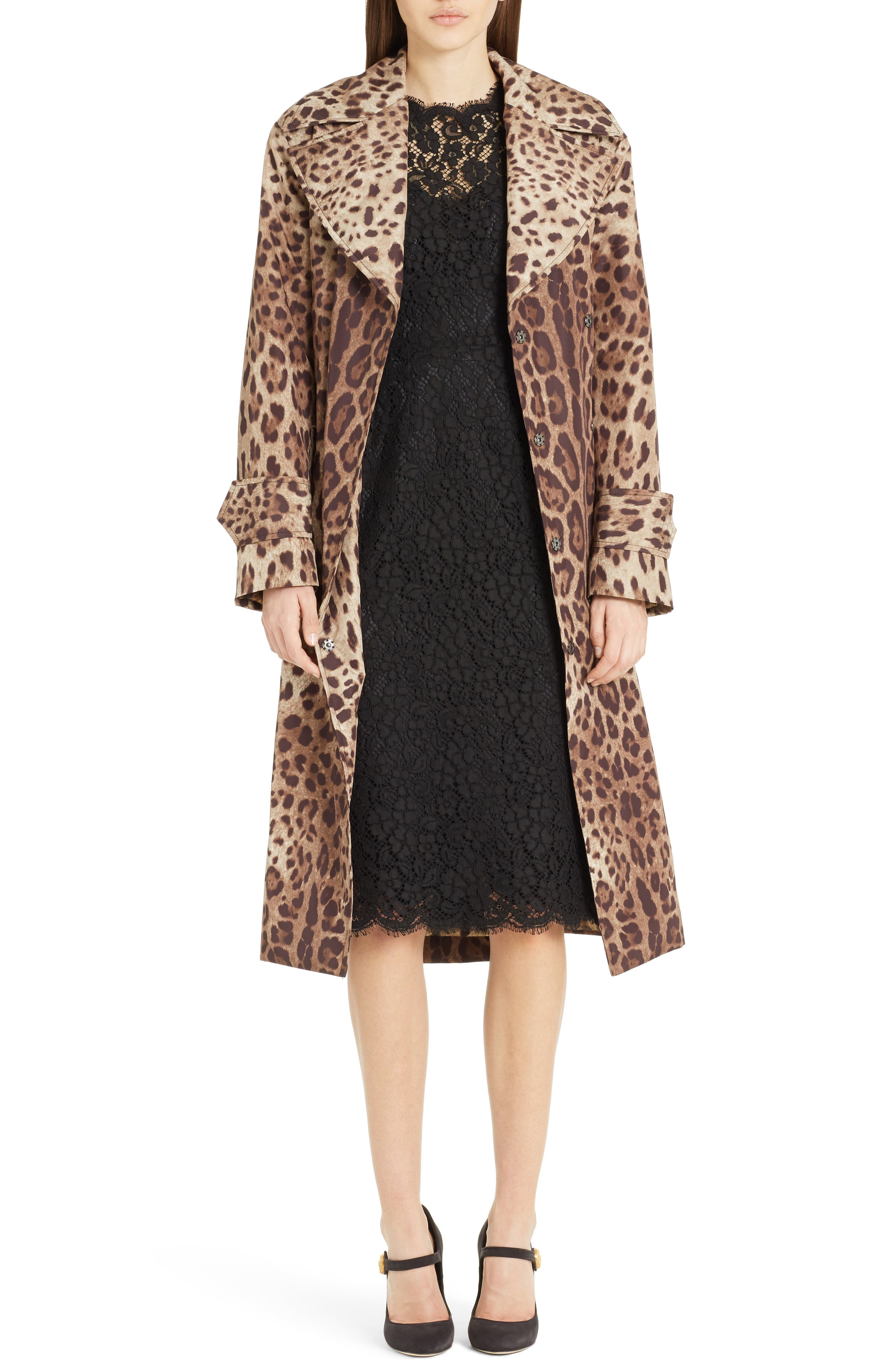 Leopard Print Trench Coat,                             Main thumbnail 1, color,                             Leopard
