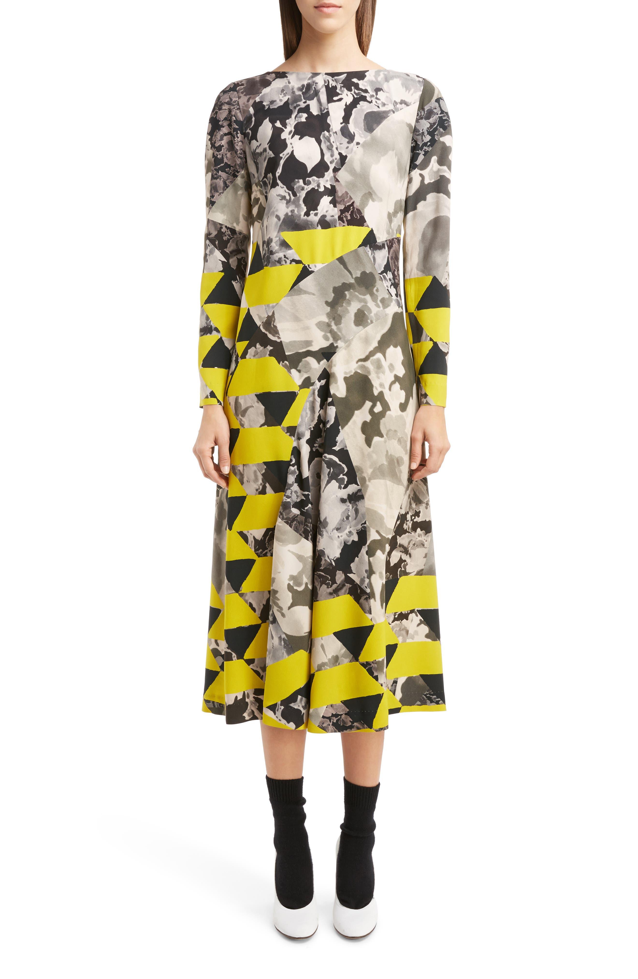 Dries Van Noten Mix Print Midi Dress