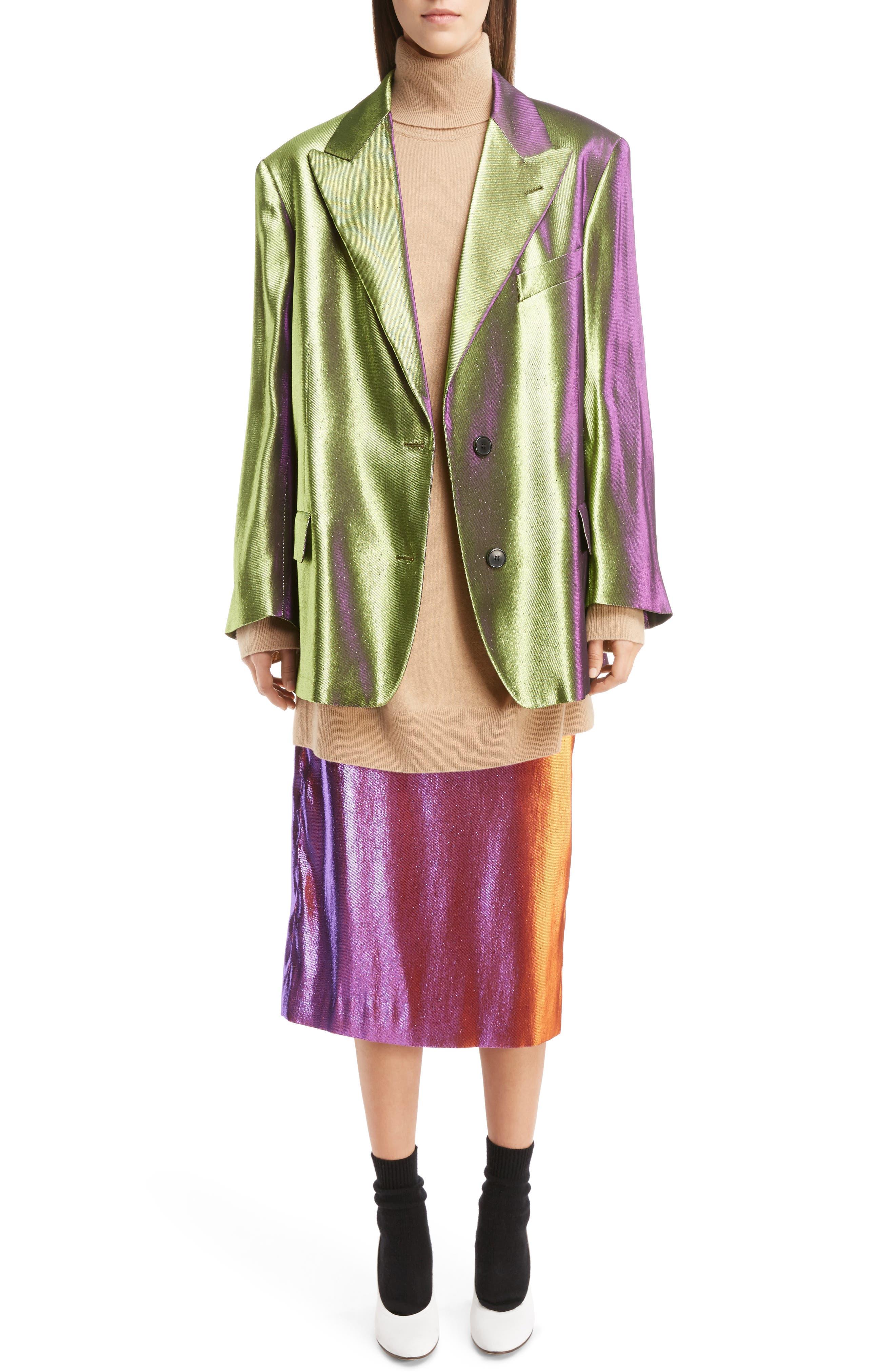 Two-Tone Lamé Pencil Skirt,                             Alternate thumbnail 6, color,                             Pink