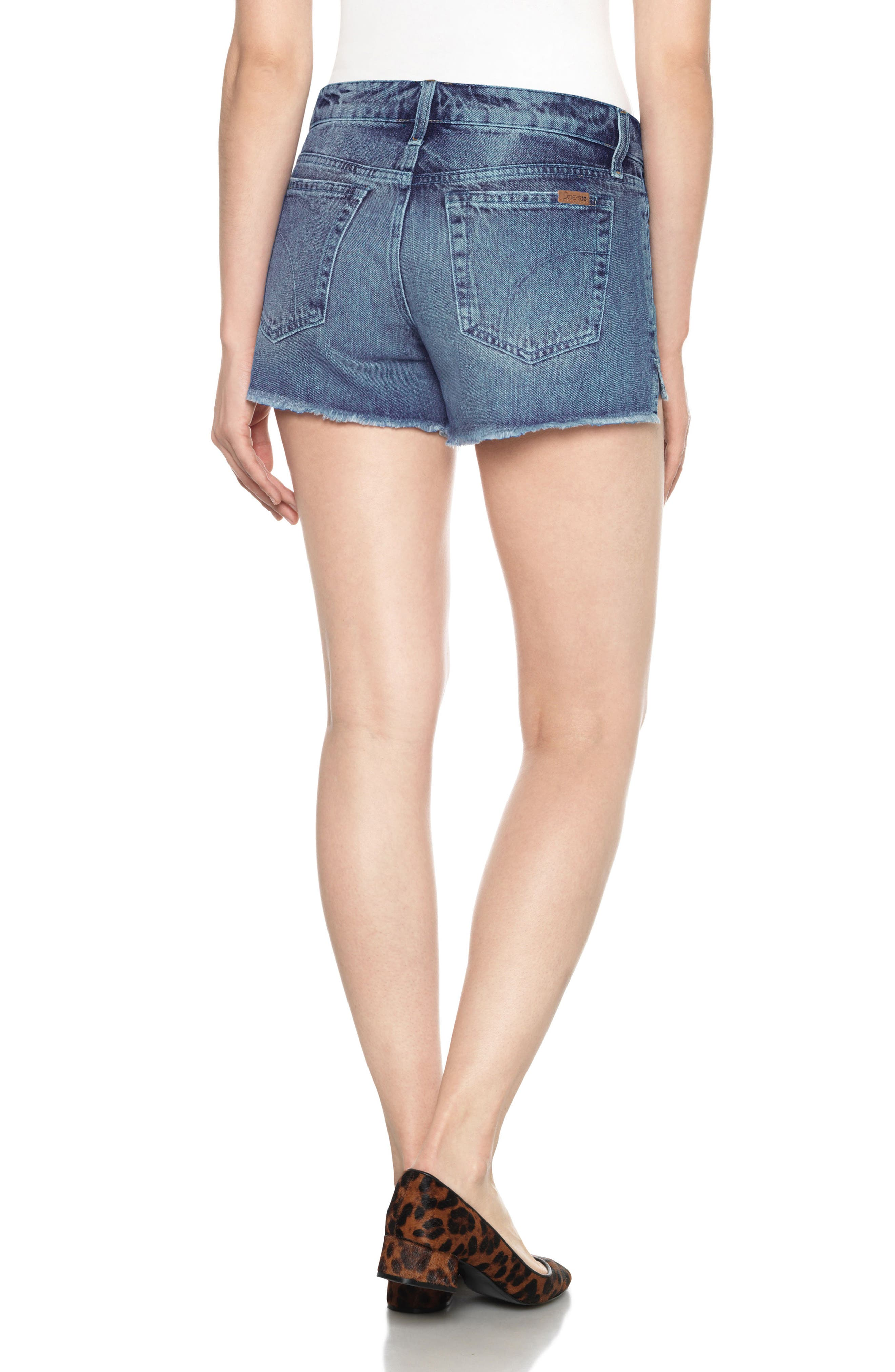 Collector's High/Low Denim Shorts,                             Alternate thumbnail 3, color,                             Yoselyn