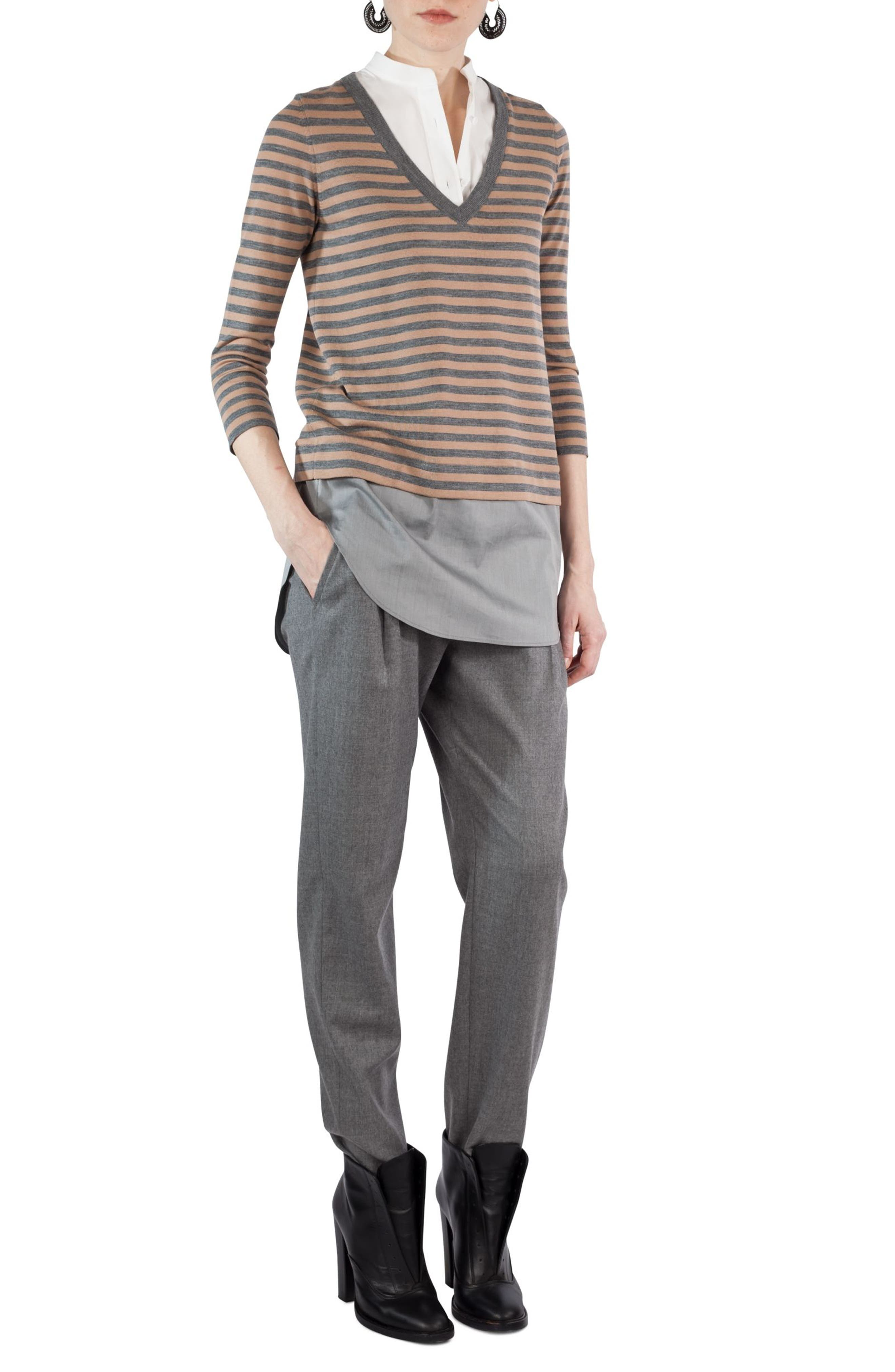 Fiola Wool Slouch Pants,                             Alternate thumbnail 4, color,                             Stone