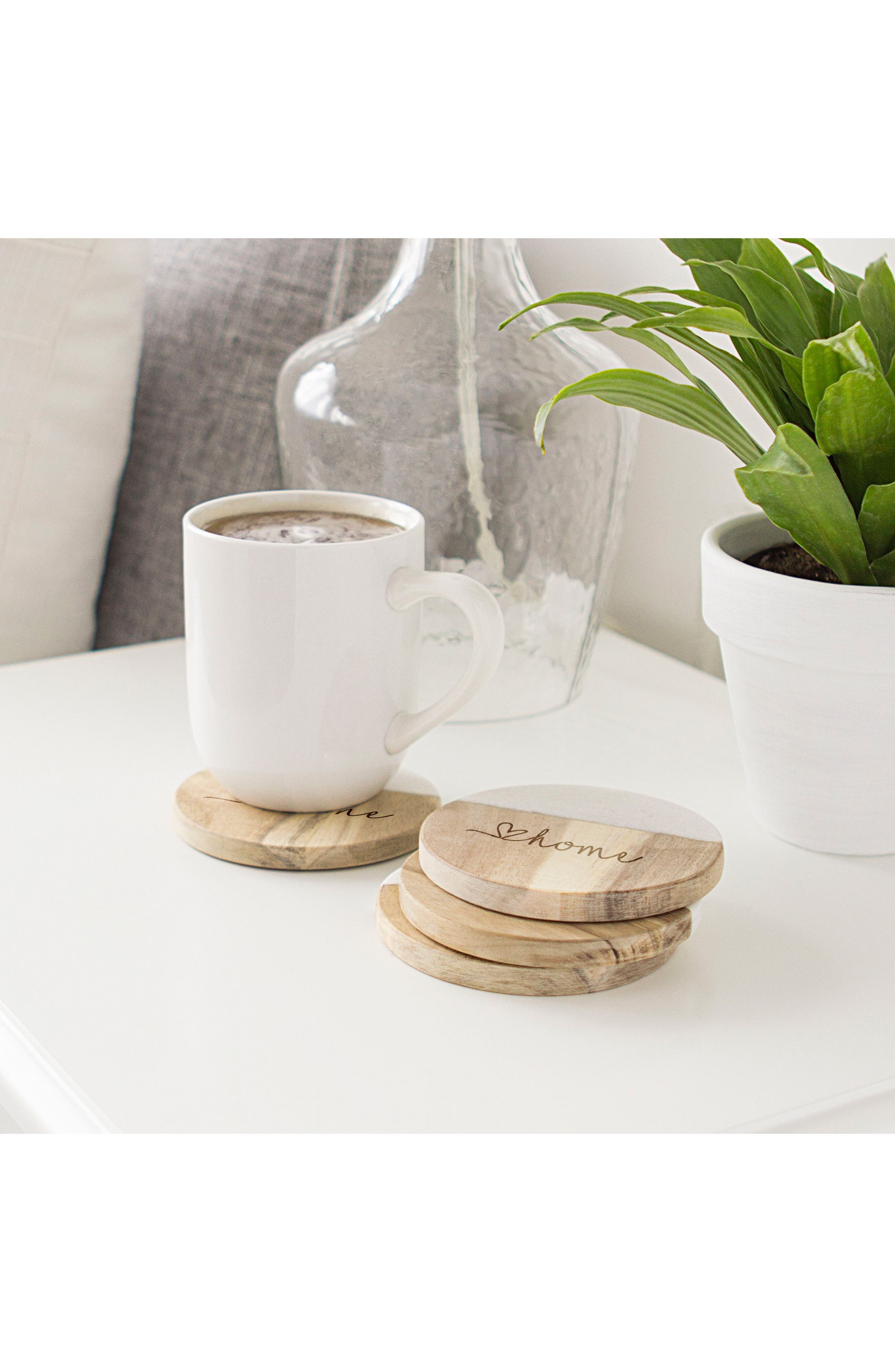 Love Home Set of 4 Marble & Acacia Wood Coasters,                             Alternate thumbnail 3, color,                             Brown