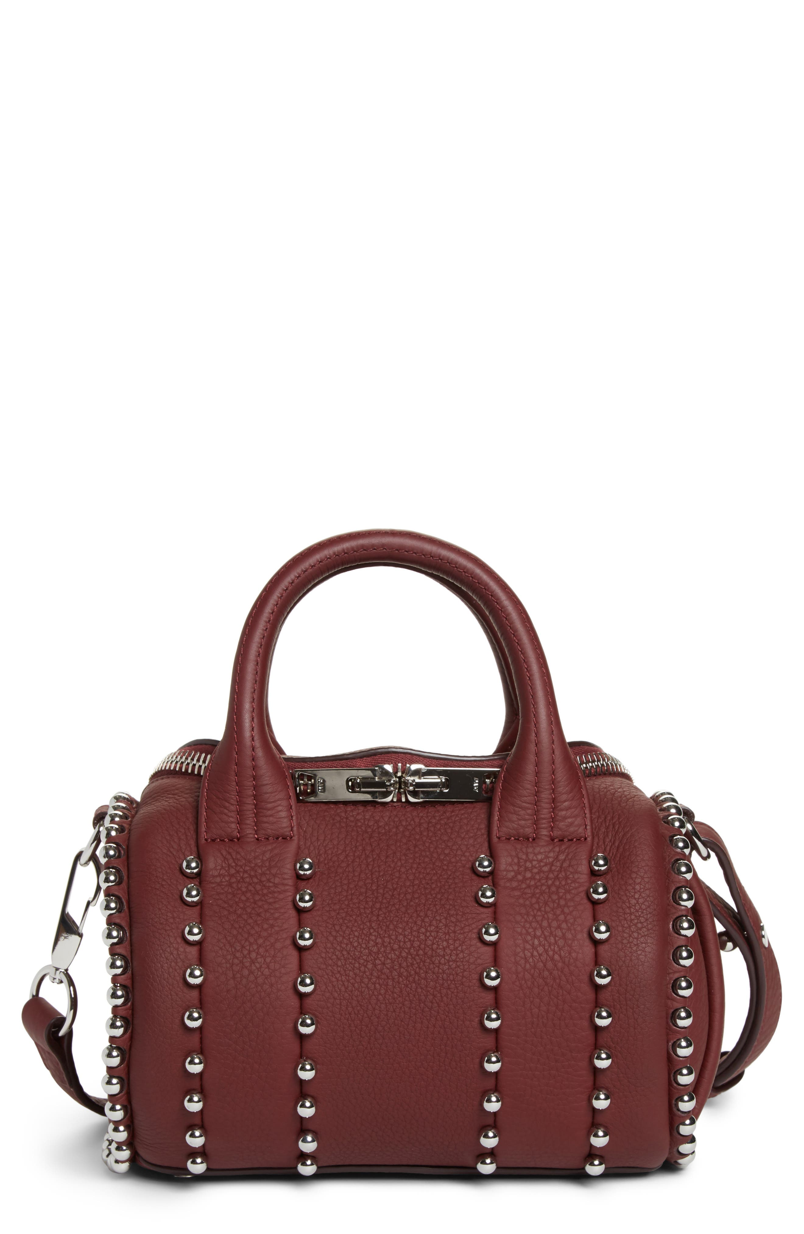 Mini Rockie Studded Leather Crossbody Satchel,                         Main,                         color, Beet