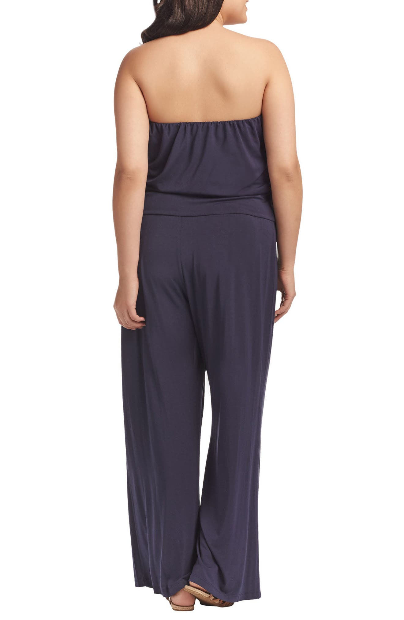 Valerie Strapless Jumpsuit,                             Alternate thumbnail 2, color,                             Peacoat